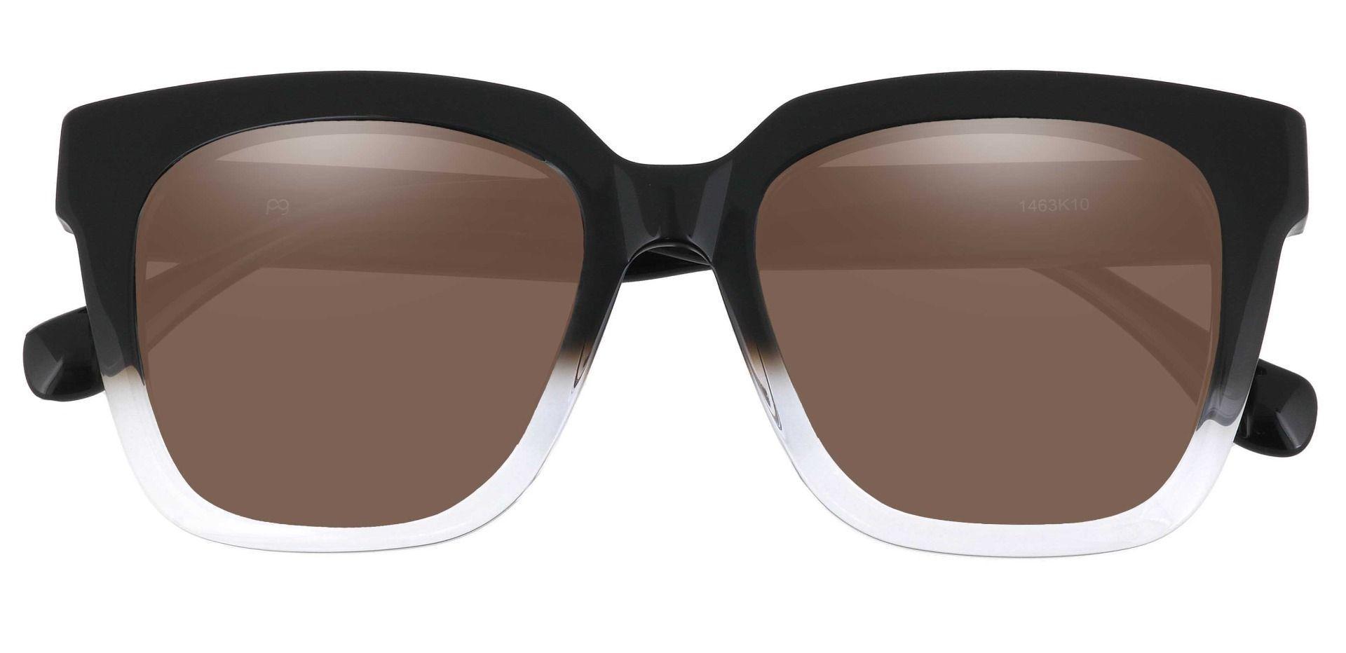 Lyric Square Prescription Sunglasses - Black Frame With Brown Lenses