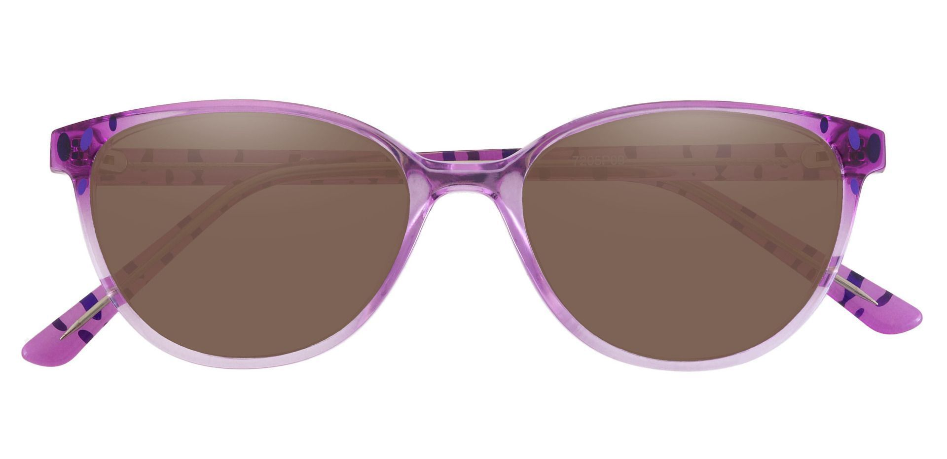 Carma Oval Prescription Sunglasses - Purple Frame With Brown Lenses