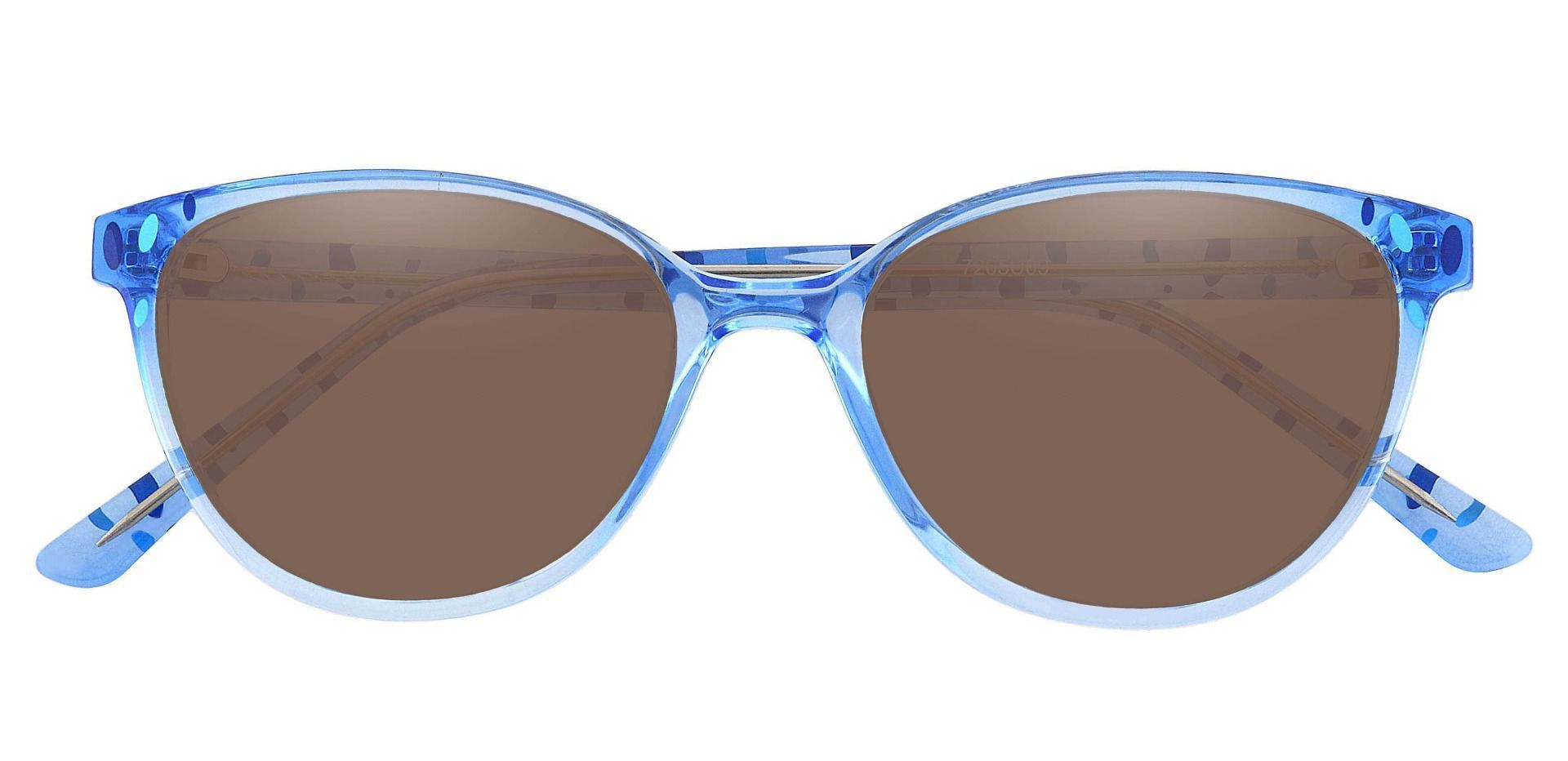 Carma Oval Prescription Sunglasses - Blue Frame With Brown Lenses