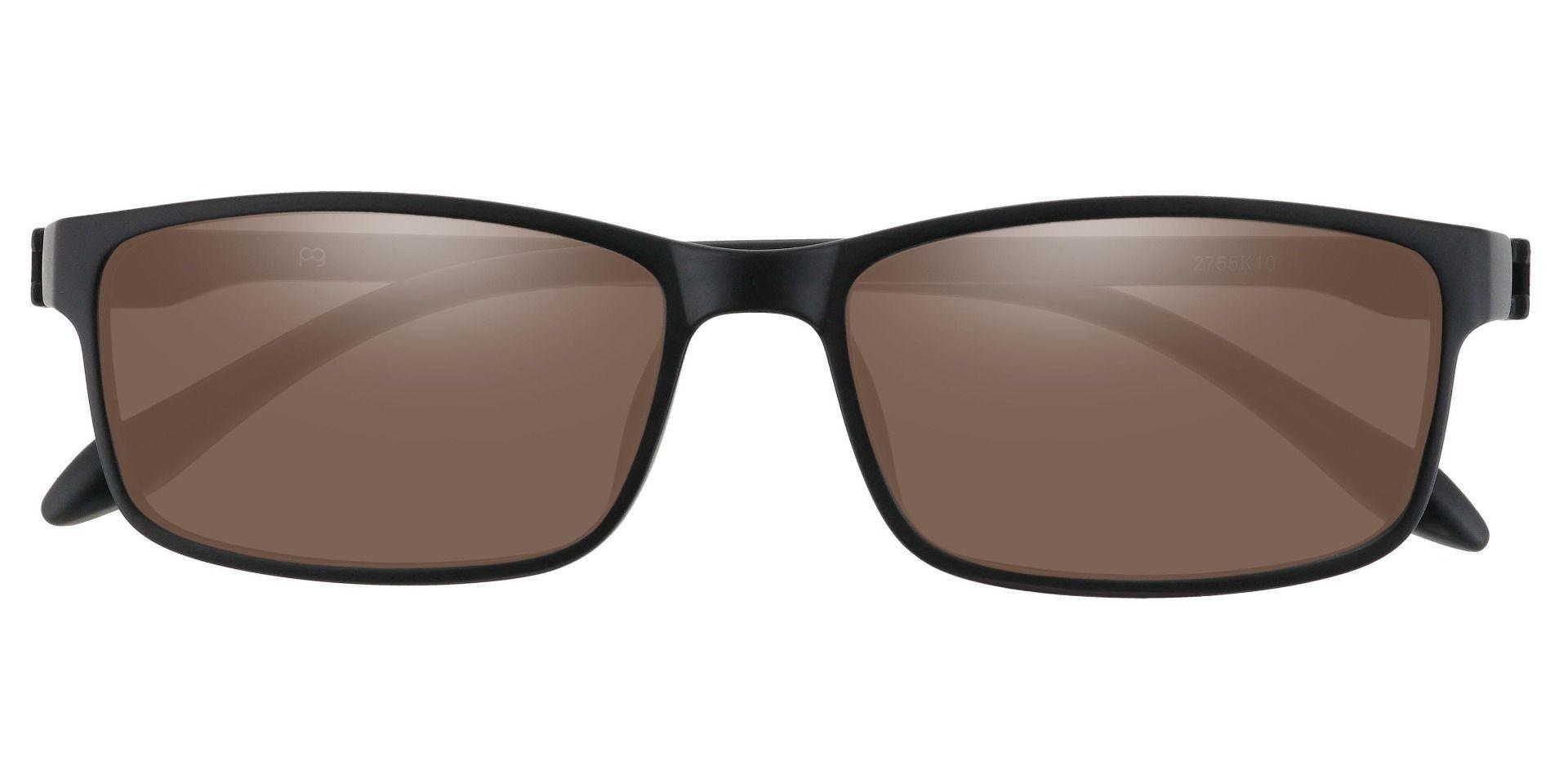 Candice Rectangle Prescription Sunglasses -  Black Frame With Brown Lenses