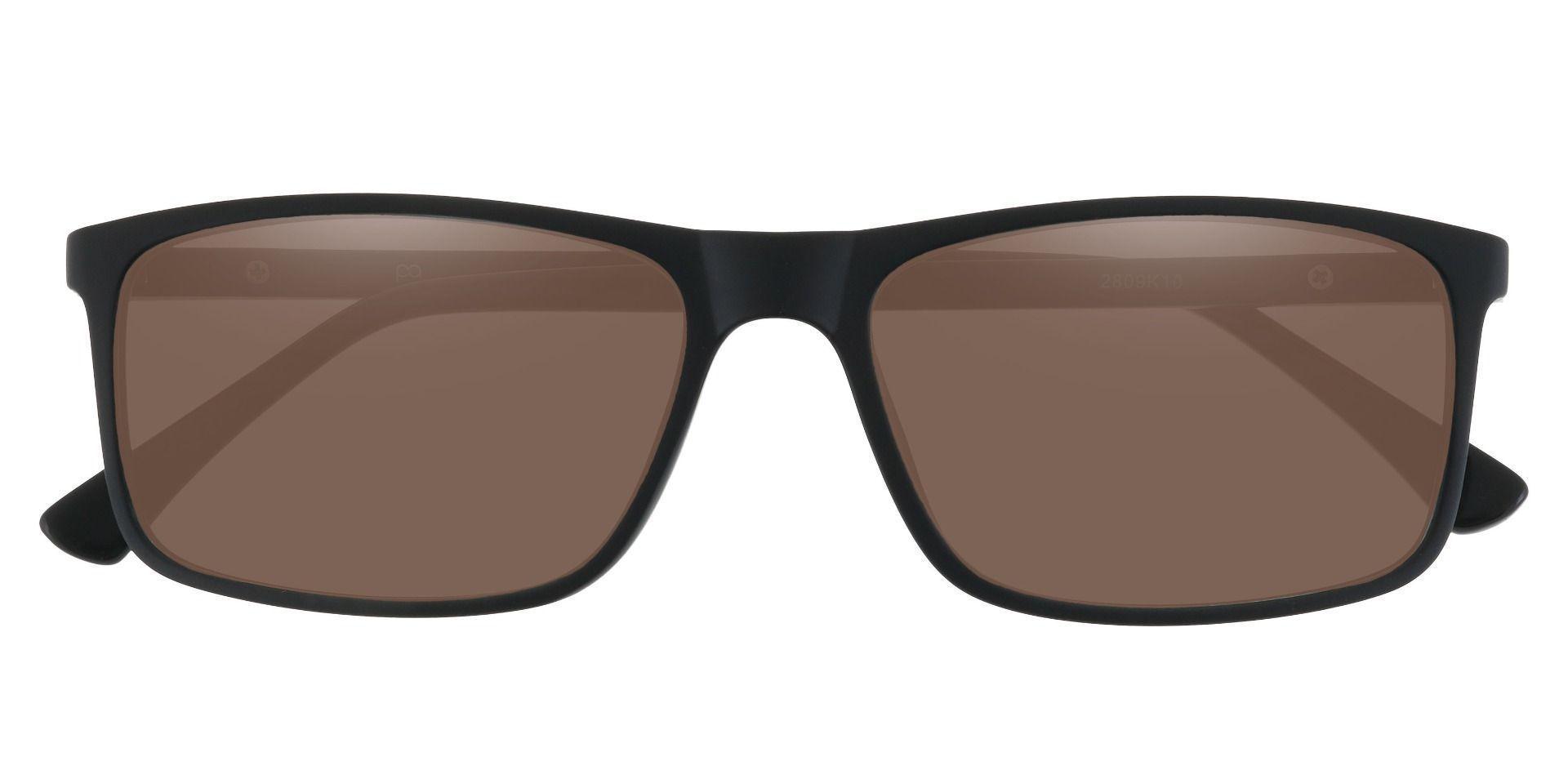 Montana Rectangle Prescription Sunglasses - Black Frame With Brown Lenses