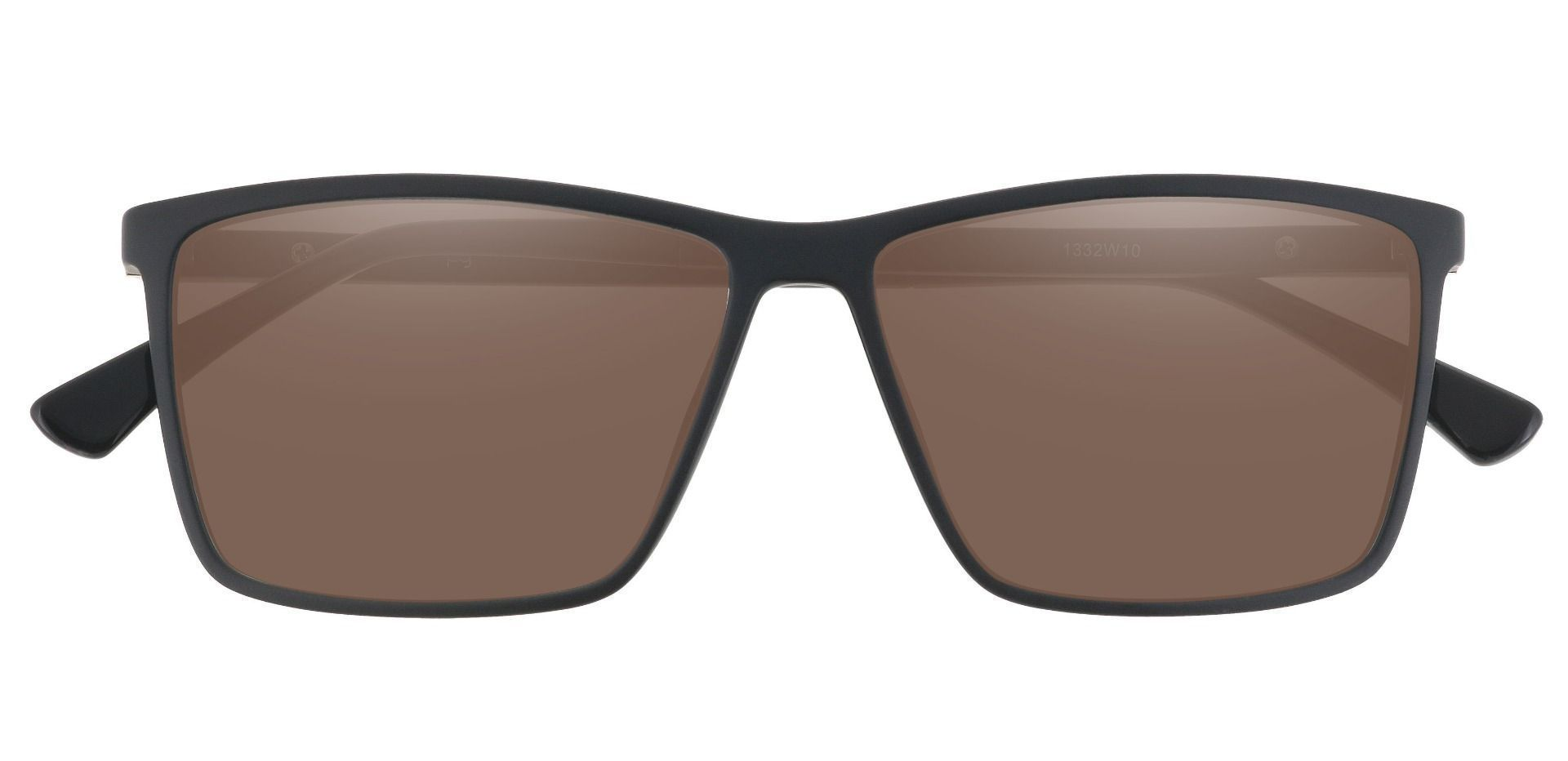 Louie Square Prescription Sunglasses - Black Frame With Brown Lenses