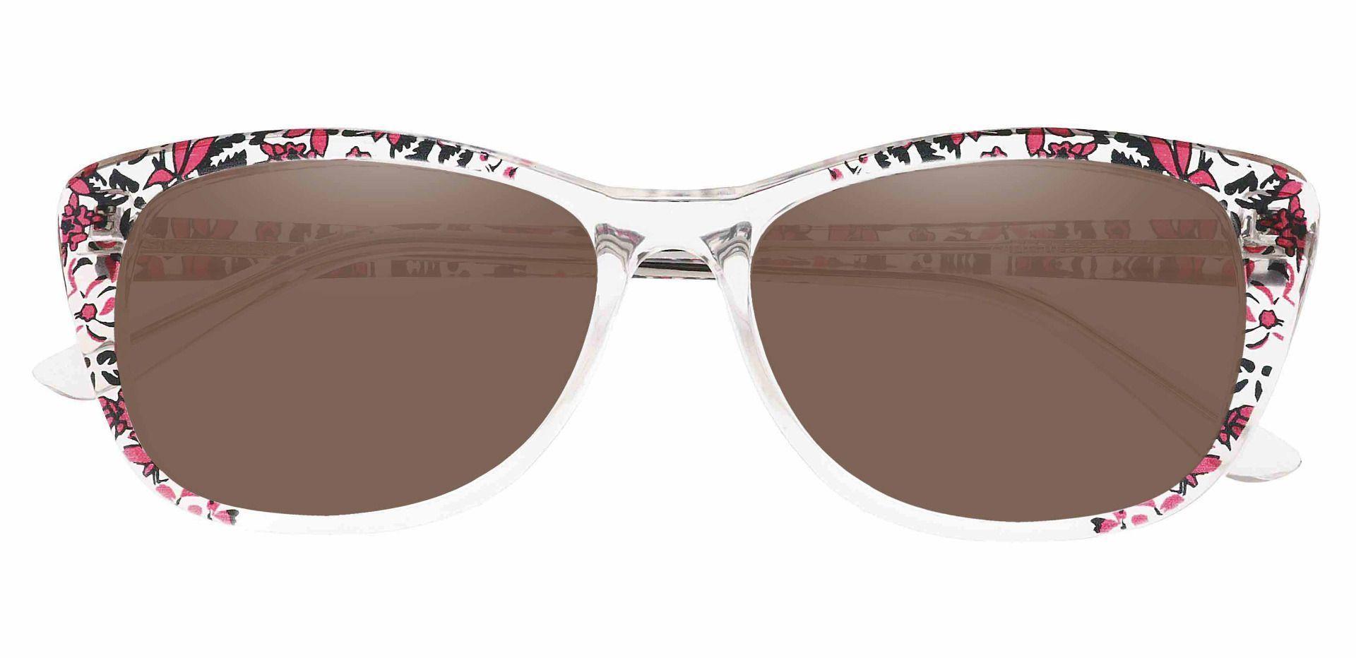 Simone Cat-Eye Prescription Sunglasses - Clear Frame With Brown Lenses