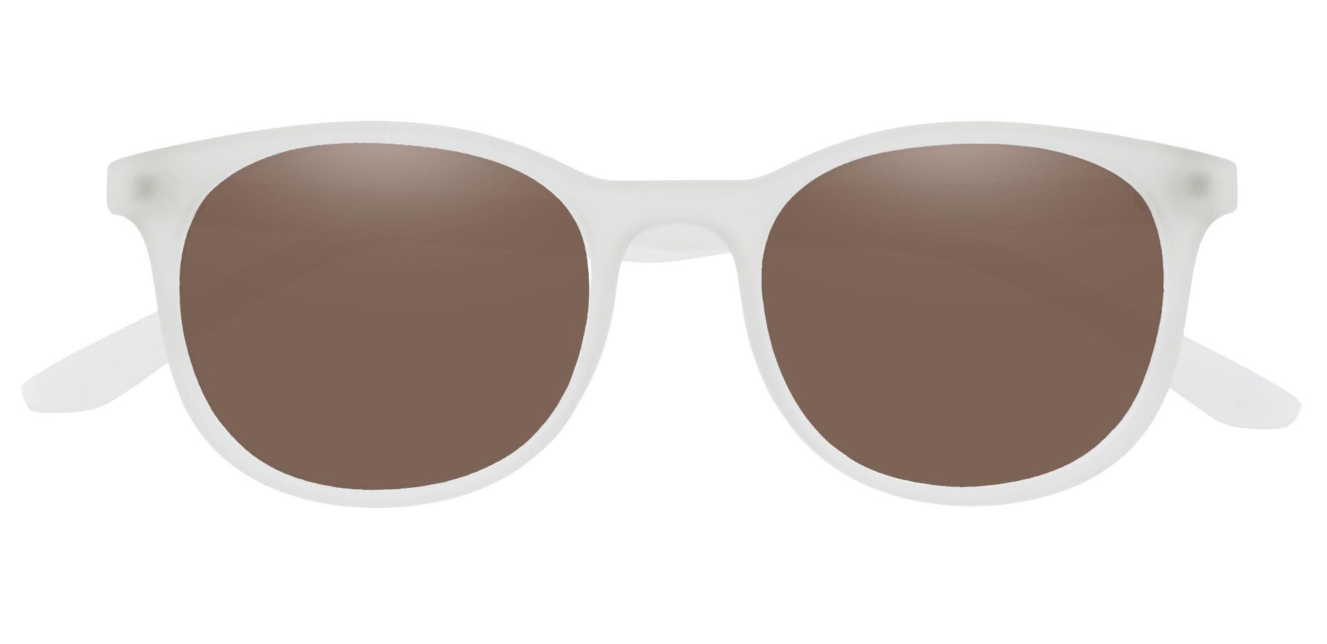 Pelham Oval Prescription Sunglasses - Clear Frame With Brown Lenses