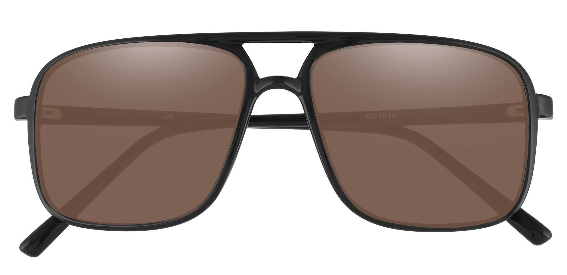 Atwood Aviator Prescription Sunglasses - Black Frame With Brown Lenses