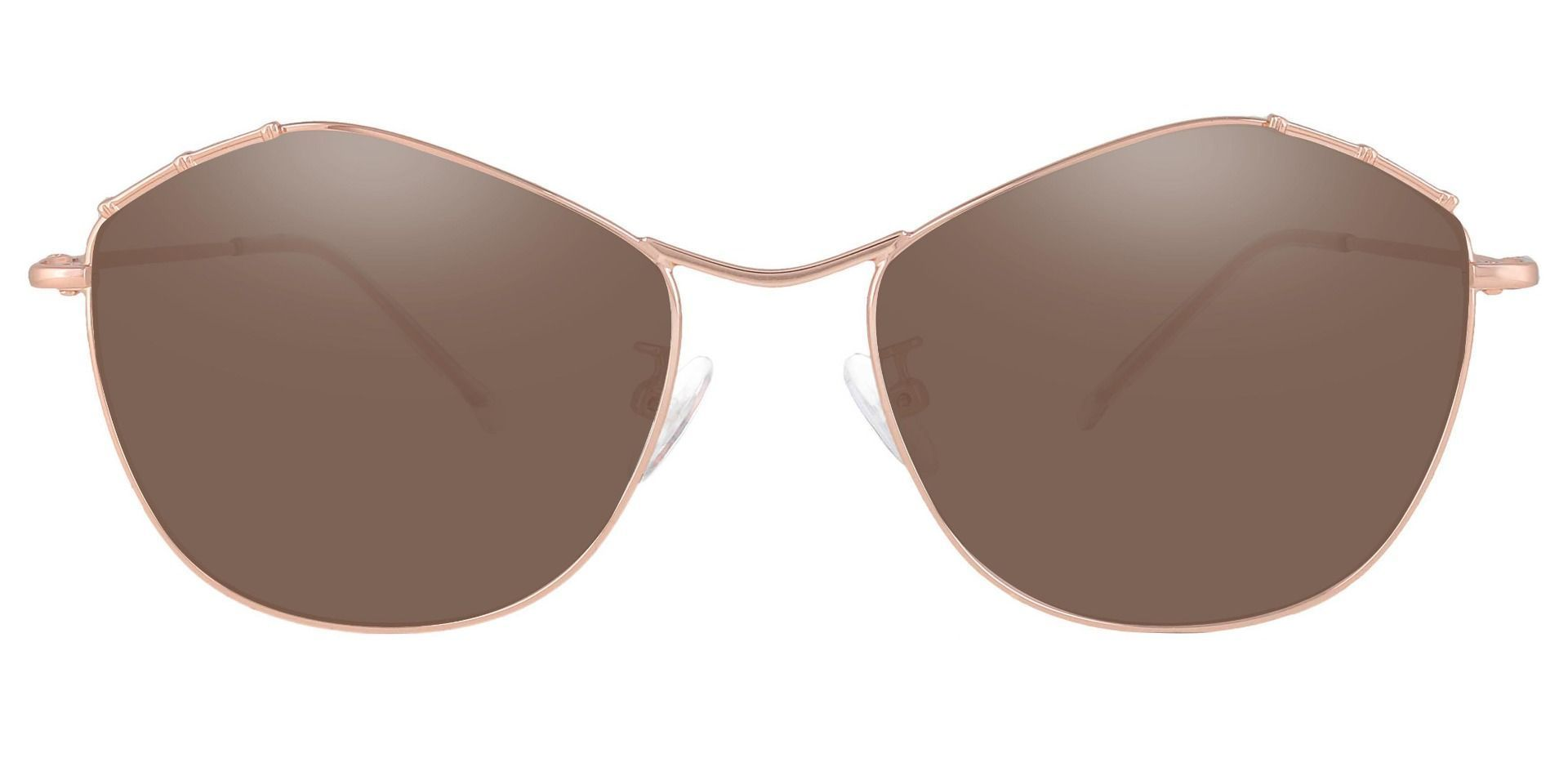 Bamboo Geometric Reading Sunglasses - Rose Gold Frame With Brown Lenses