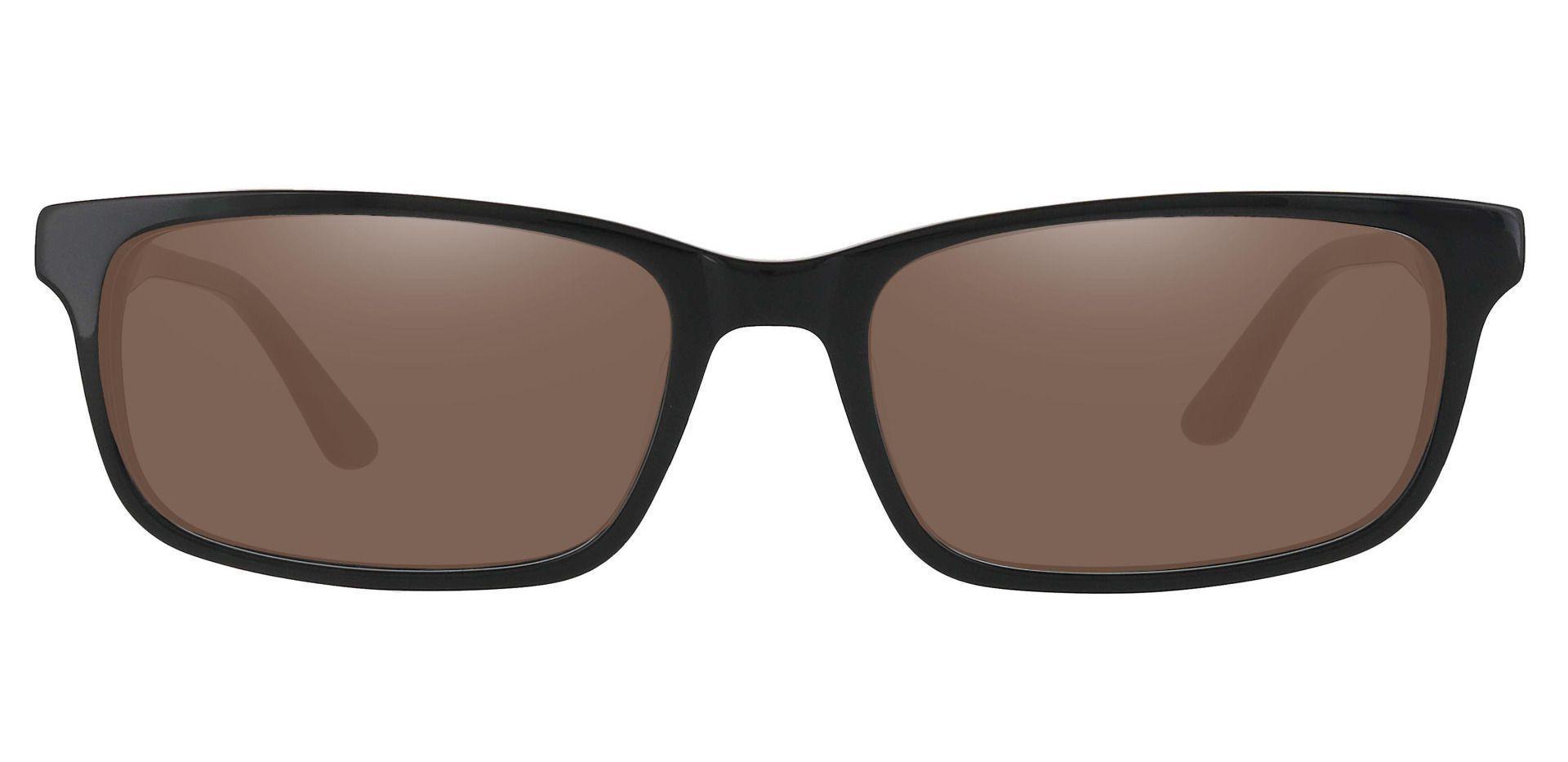 Ennis Rectangle Progressive Sunglasses - Black Frame With Brown Lenses