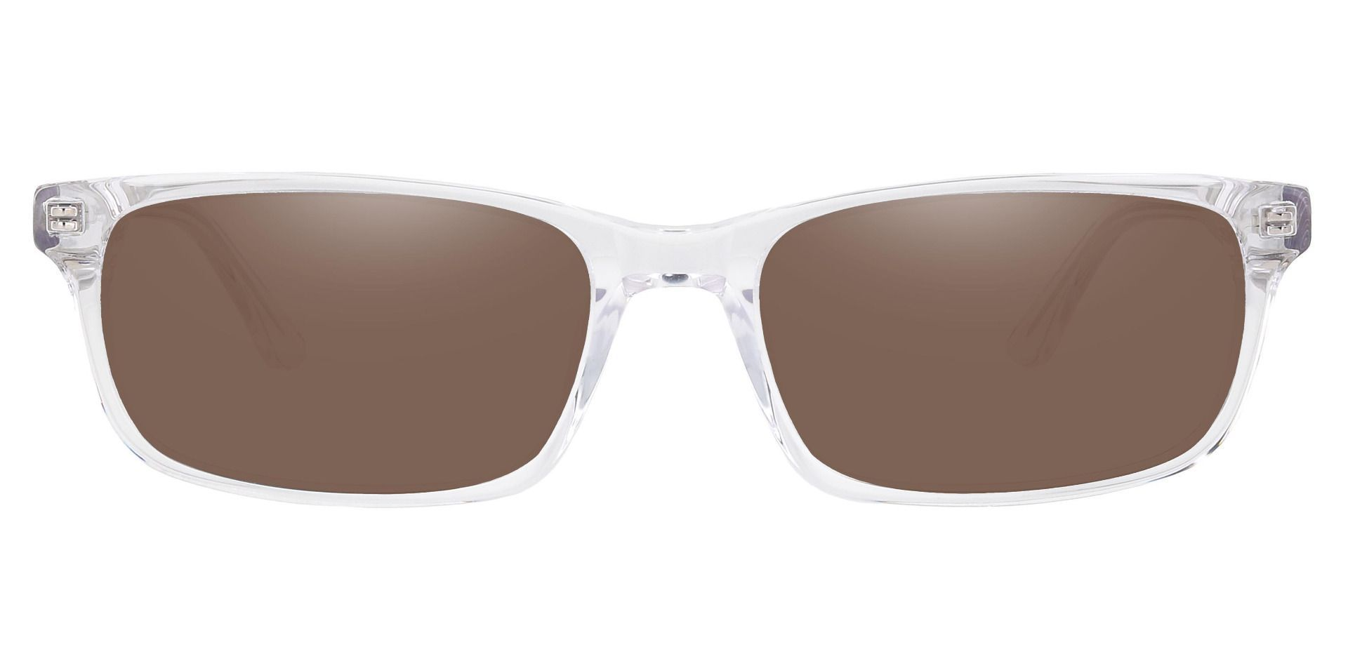 Ennis Rectangle Prescription Sunglasses - Clear Frame With Brown Lenses