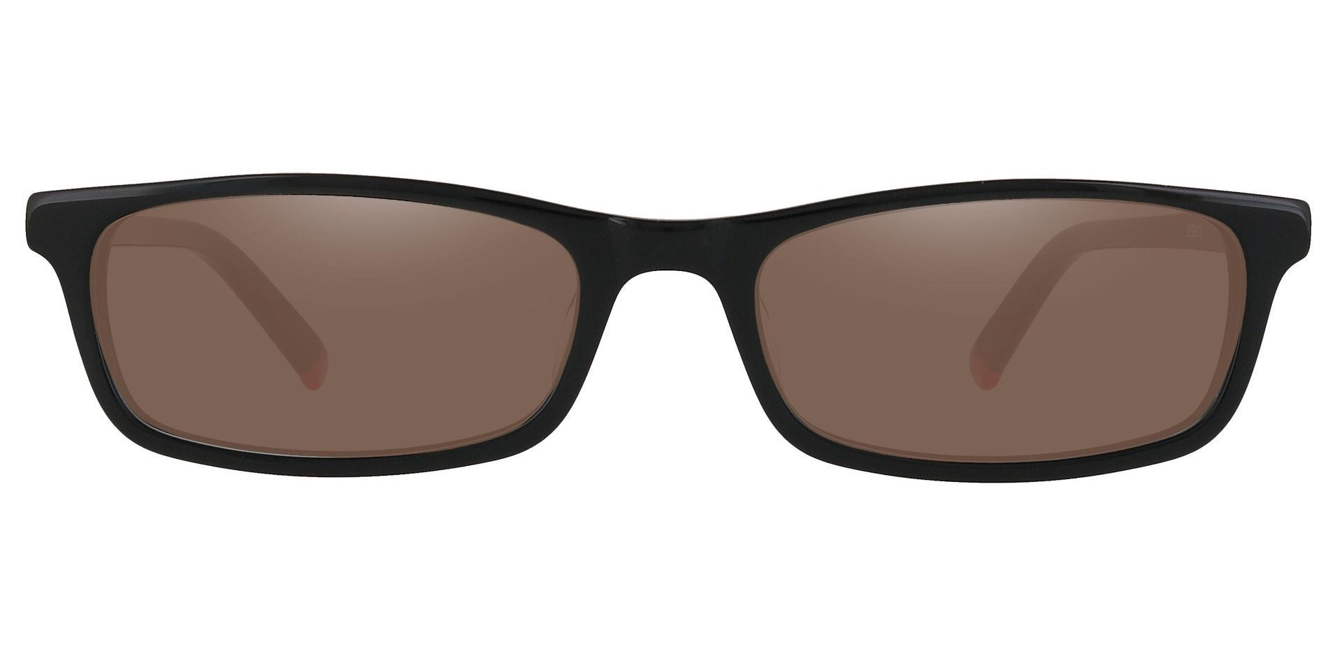 Palisades Rectangle Single Vision Sunglasses - Black Frame With Brown Lenses