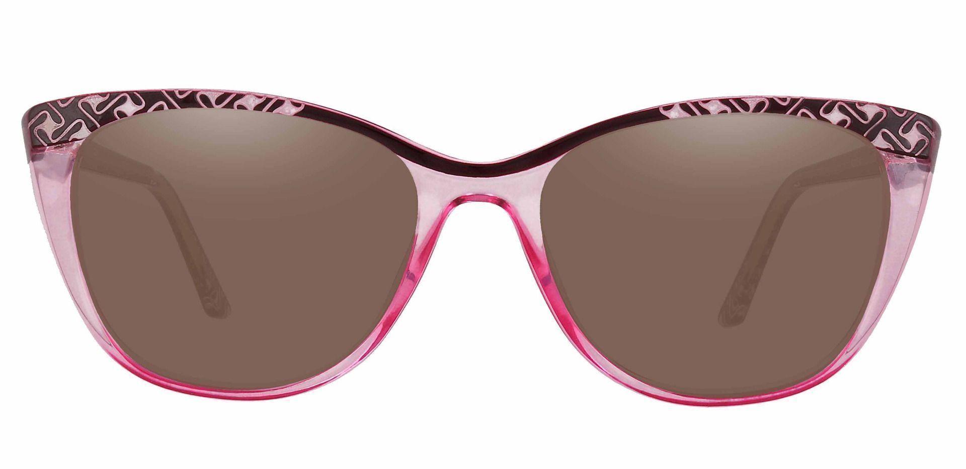 Alberta Cat Eye Reading Sunglasses - Pink Frame With Brown Lenses