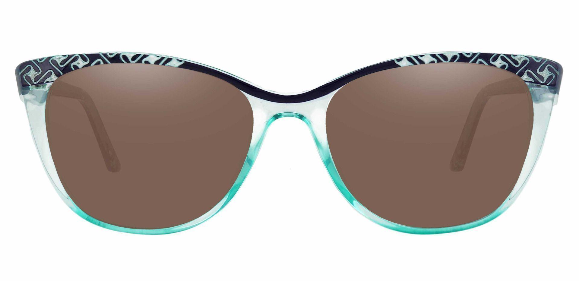 Alberta Cat Eye Progressive Sunglasses - Blue Frame With Brown Lenses