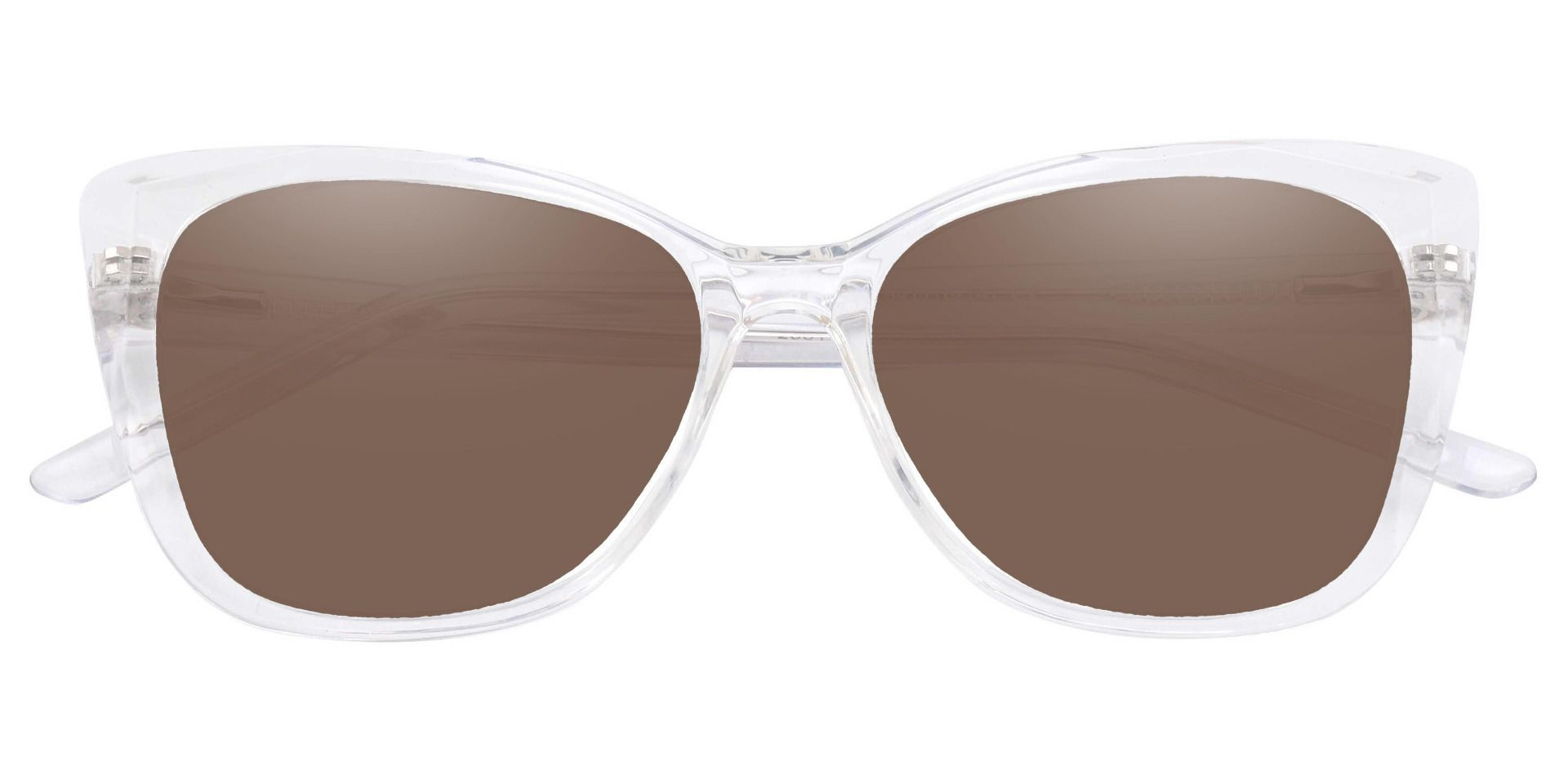 Mabel Square Prescription Sunglasses - Clear Frame With Brown Lenses