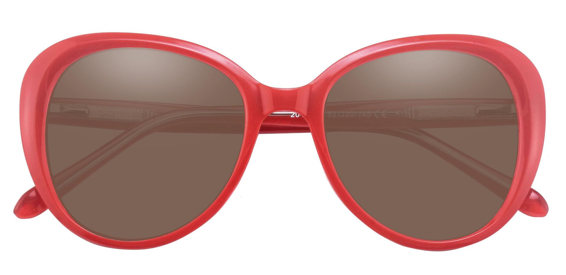 Sheridan Oval Progressive Sunglasses - Red Frame With Brown Lenses