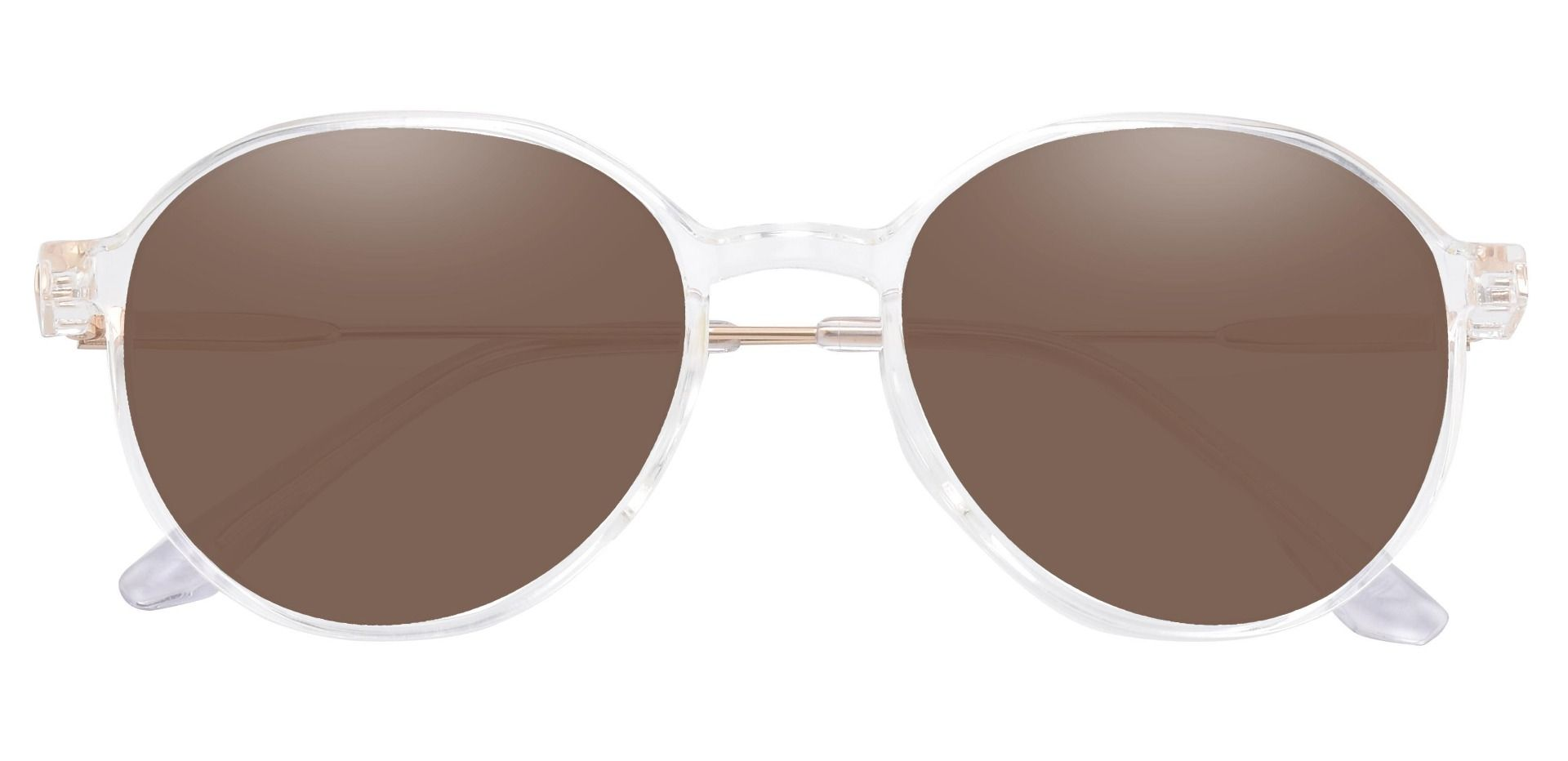 Daytona Geometric Prescription Sunglasses - Clear Frame With Brown Lenses