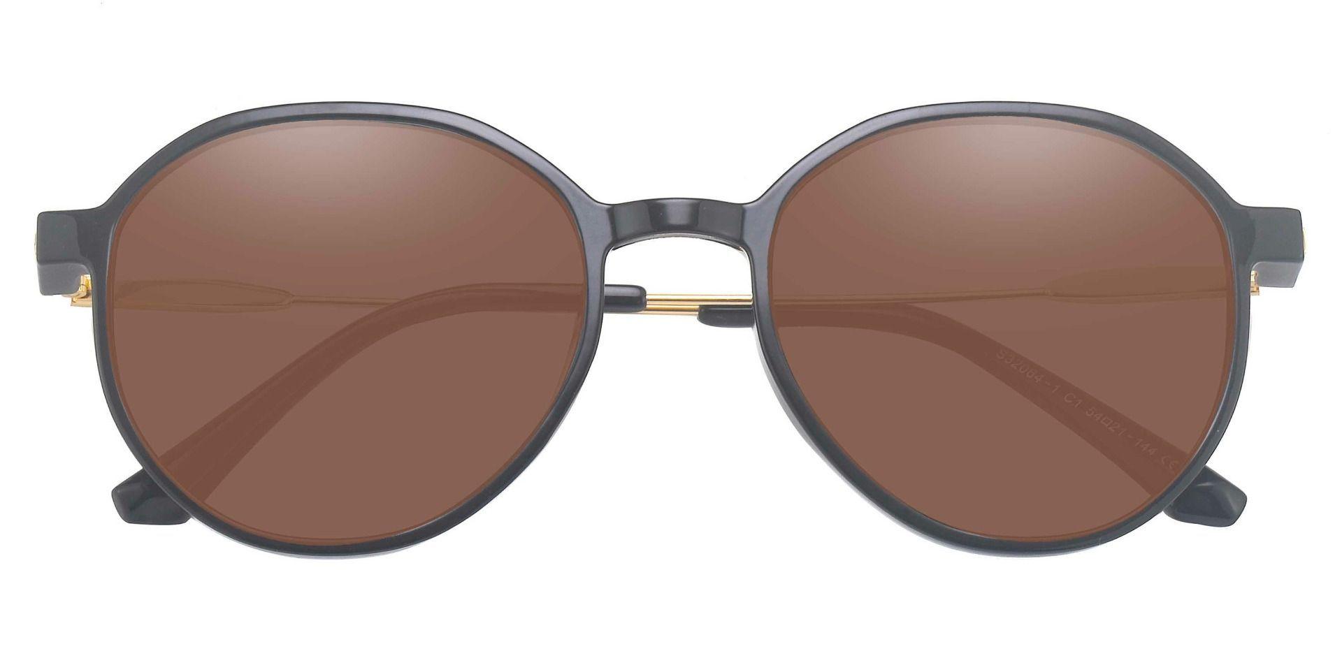 Daytona Geometric Lined Bifocal Sunglasses - Black Frame With Brown Lenses
