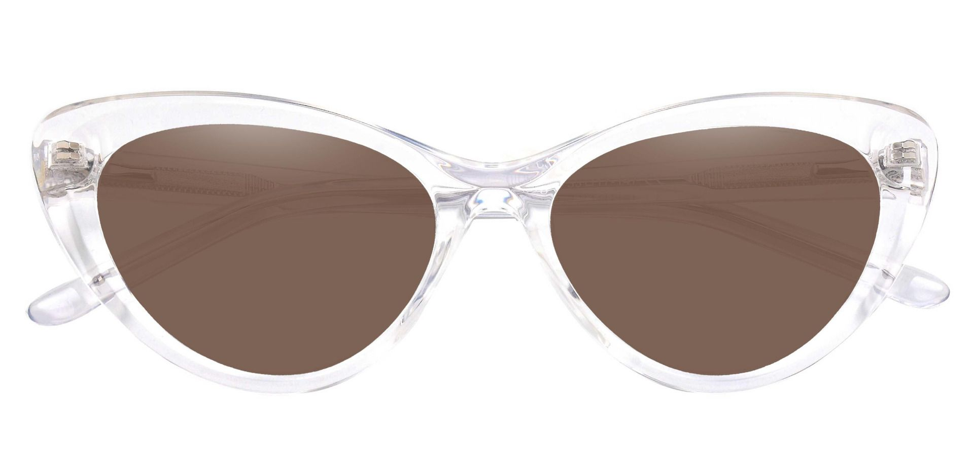 Gemini Cat Eye Prescription Sunglasses - Clear Frame With Brown Lenses