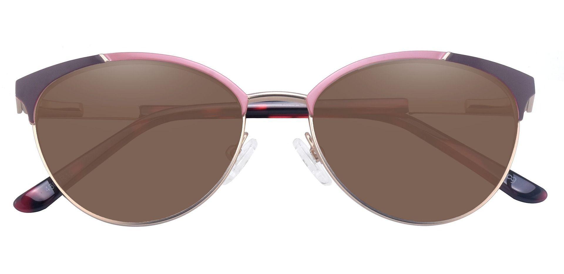 Lisette Oval Prescription Sunglasses - Red Frame With Brown Lenses
