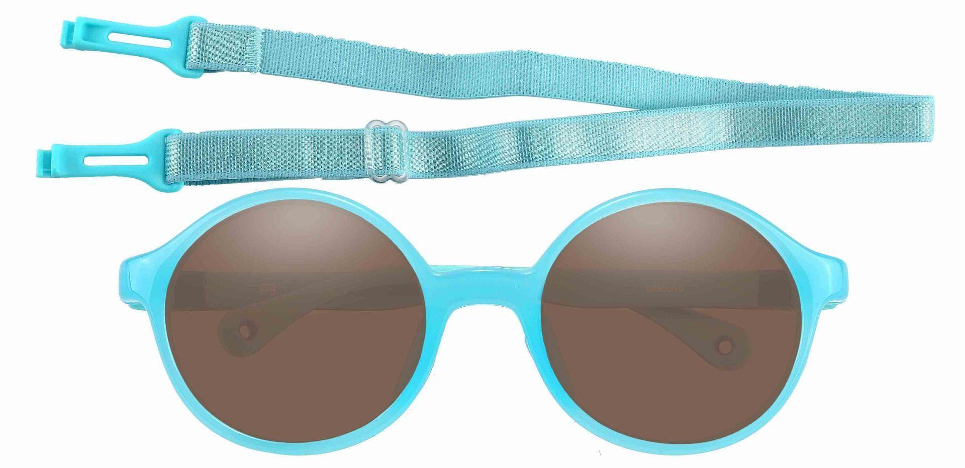 Sammy Round Prescription Sunglasses - Blue Frame With Brown Lenses