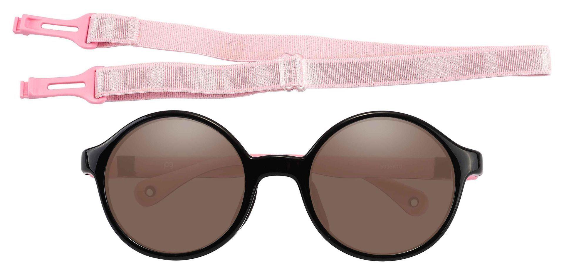 Sammy Round Prescription Sunglasses - Black Frame With Brown Lenses