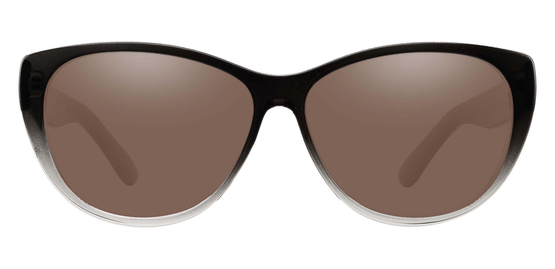 Lynn Cat-Eye Prescription Sunglasses - Gray Frame With Brown Lenses