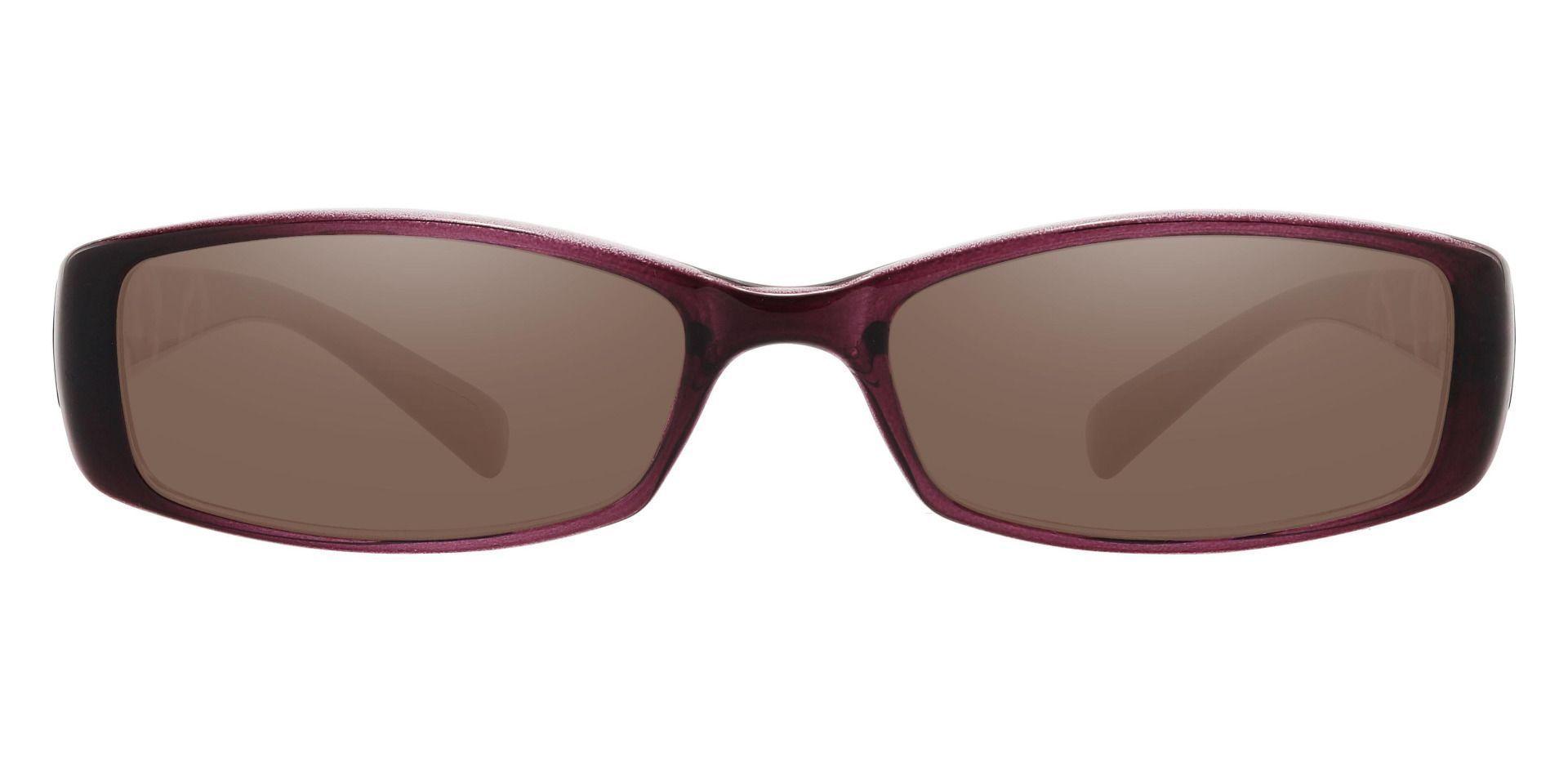 Medora Rectangle Single Vision Sunglasses - Purple Frame With Brown Lenses