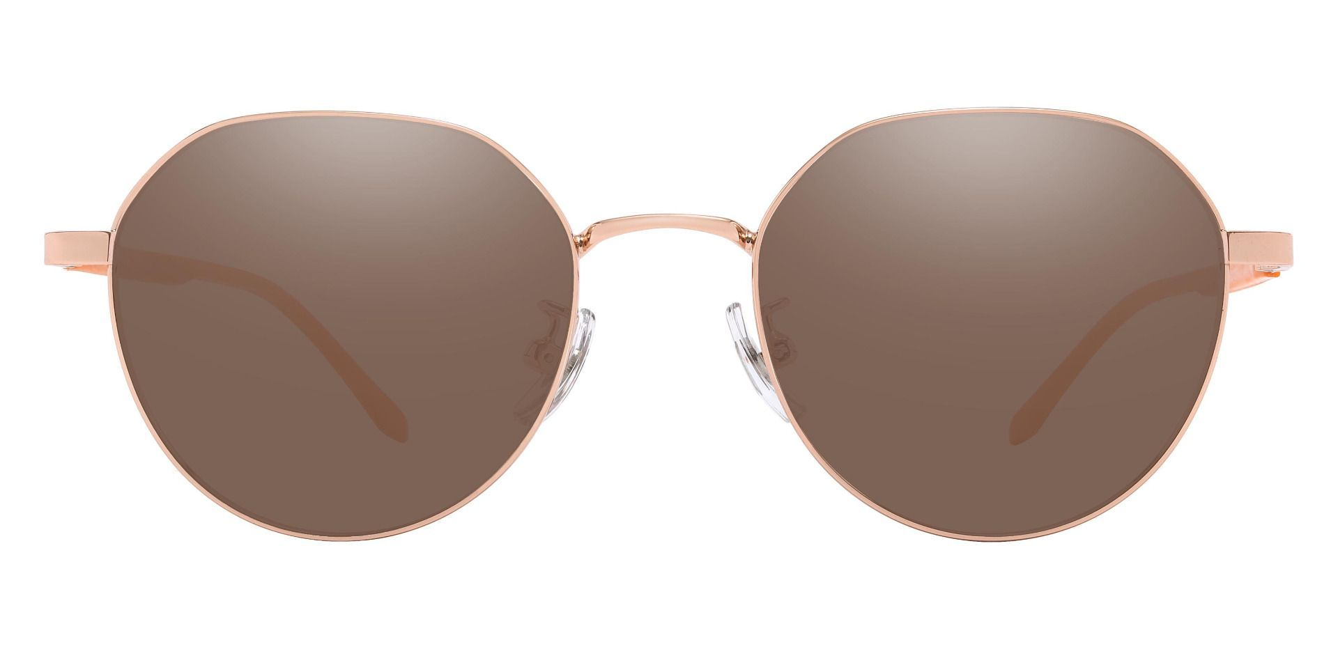 Beatrice Geometric Prescription Sunglasses - Gold Frame With Brown Lenses