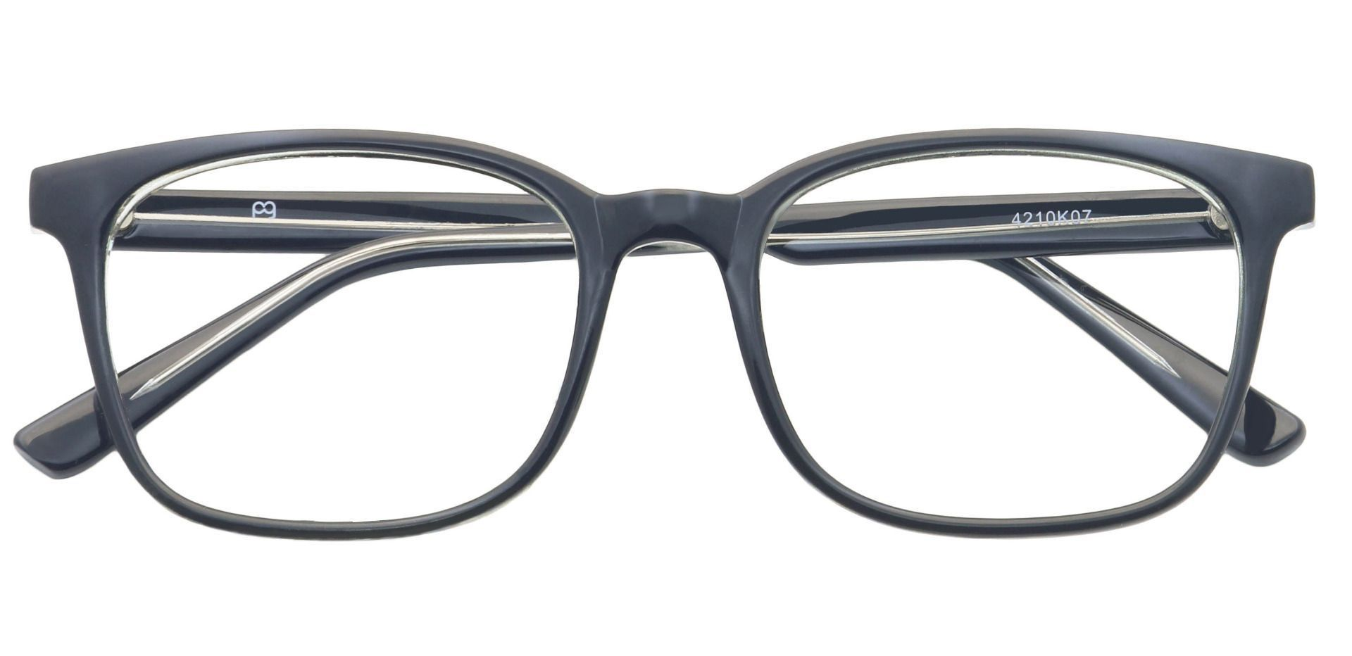 Windsor Rectangle Eyeglasses Frame - Shiny Black/crystal