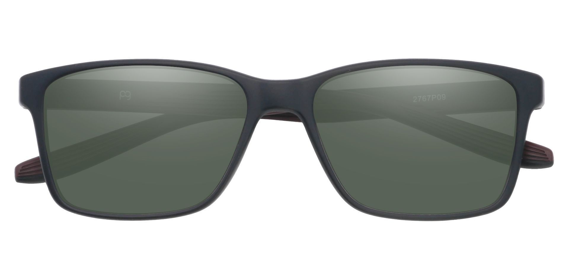 Berlin Rectangle Prescription Sunglasses - Brown Frame With Green Lenses