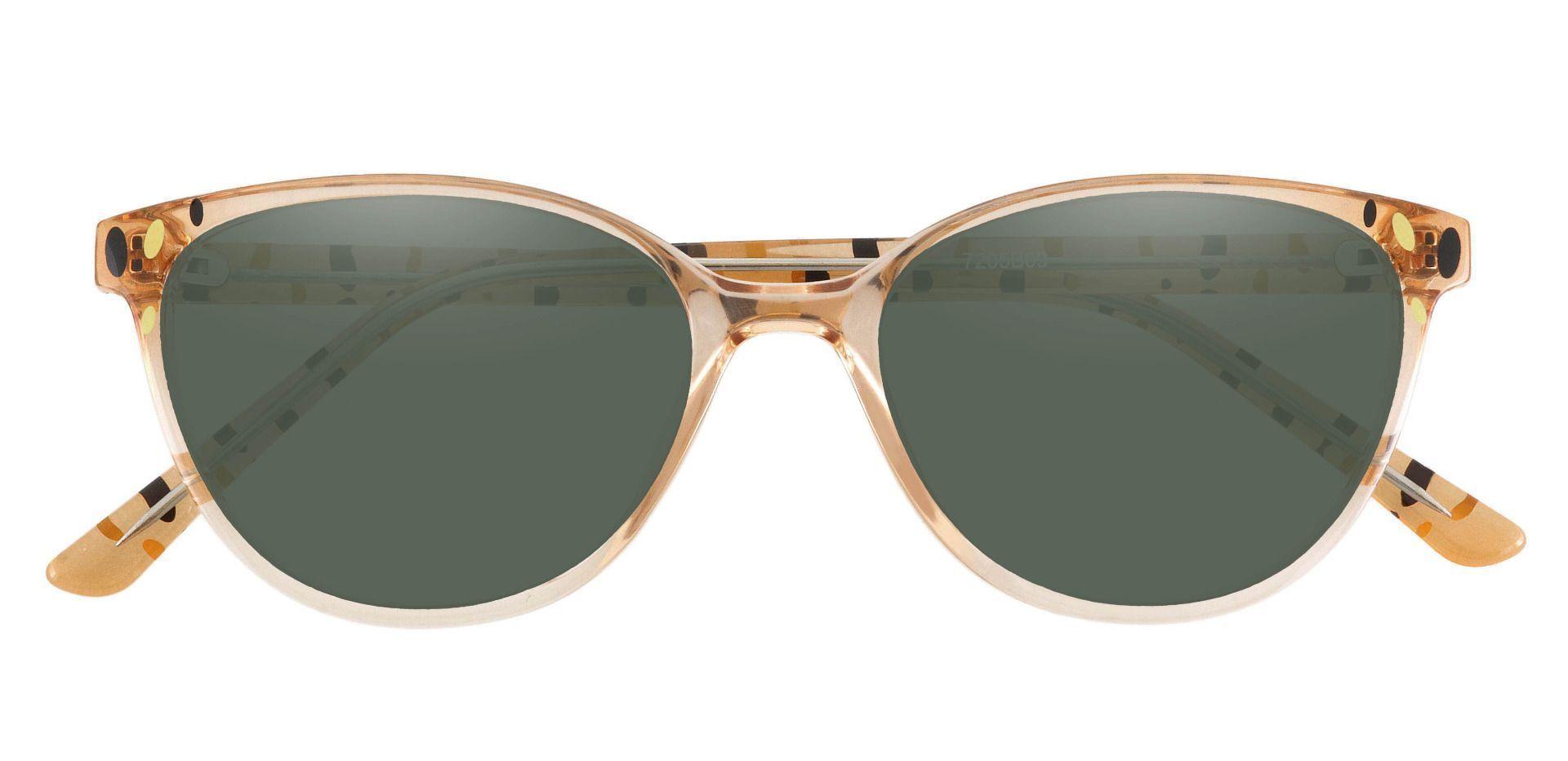 Carma Oval Prescription Sunglasses - Brown Frame With Green Lenses