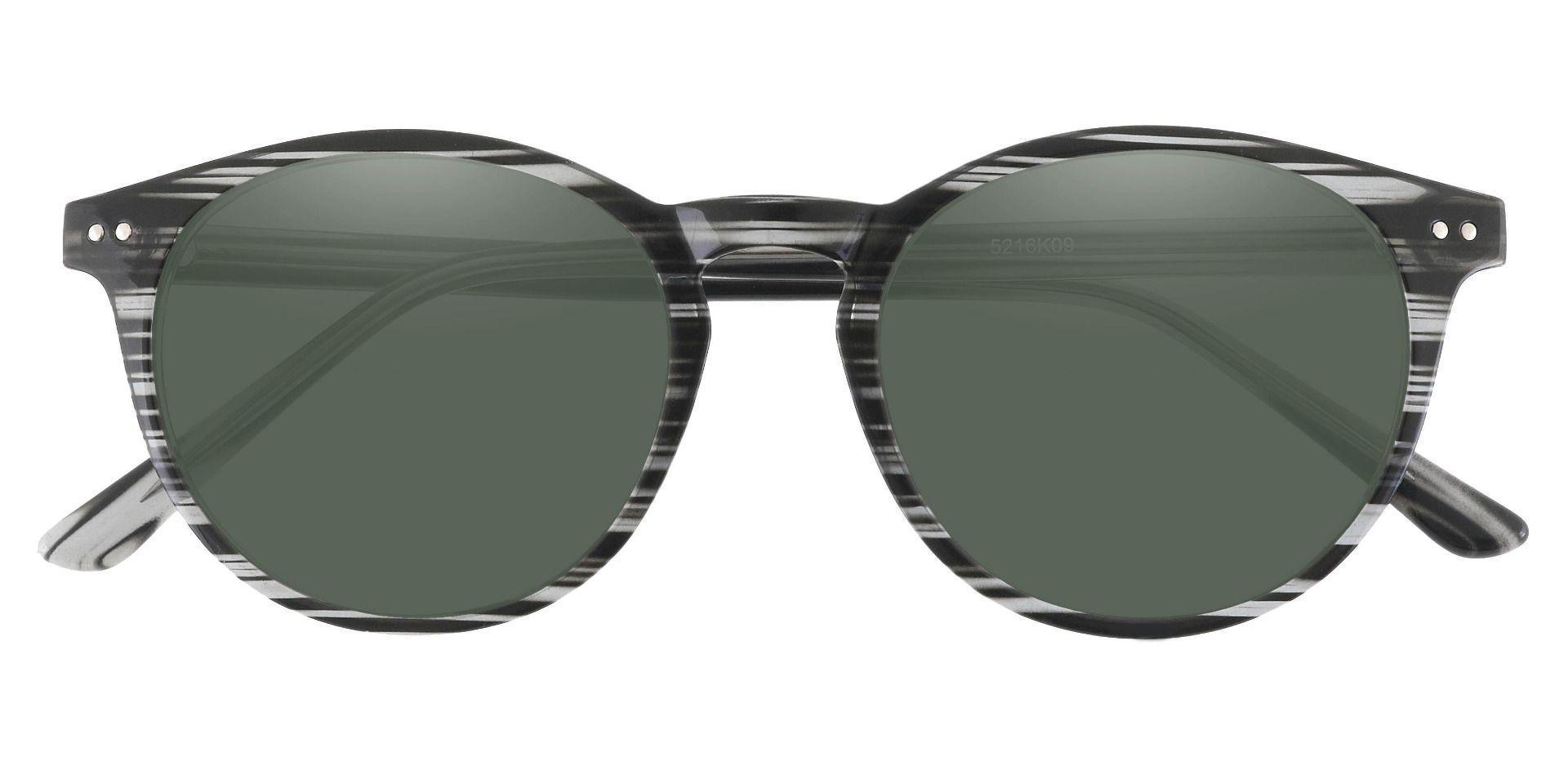 Dormont Round Prescription Sunglasses - Black Frame With Green Lenses