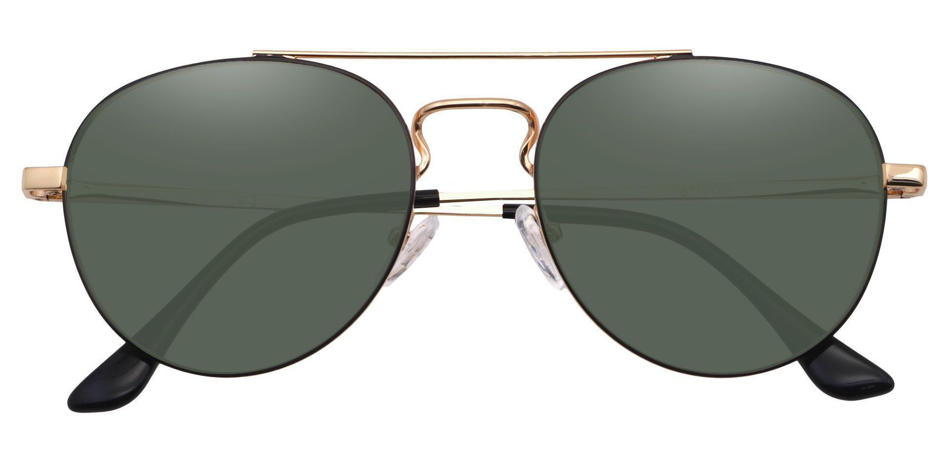 Trapp Aviator Reading Sunglasses - Gold Frame With Green Lenses