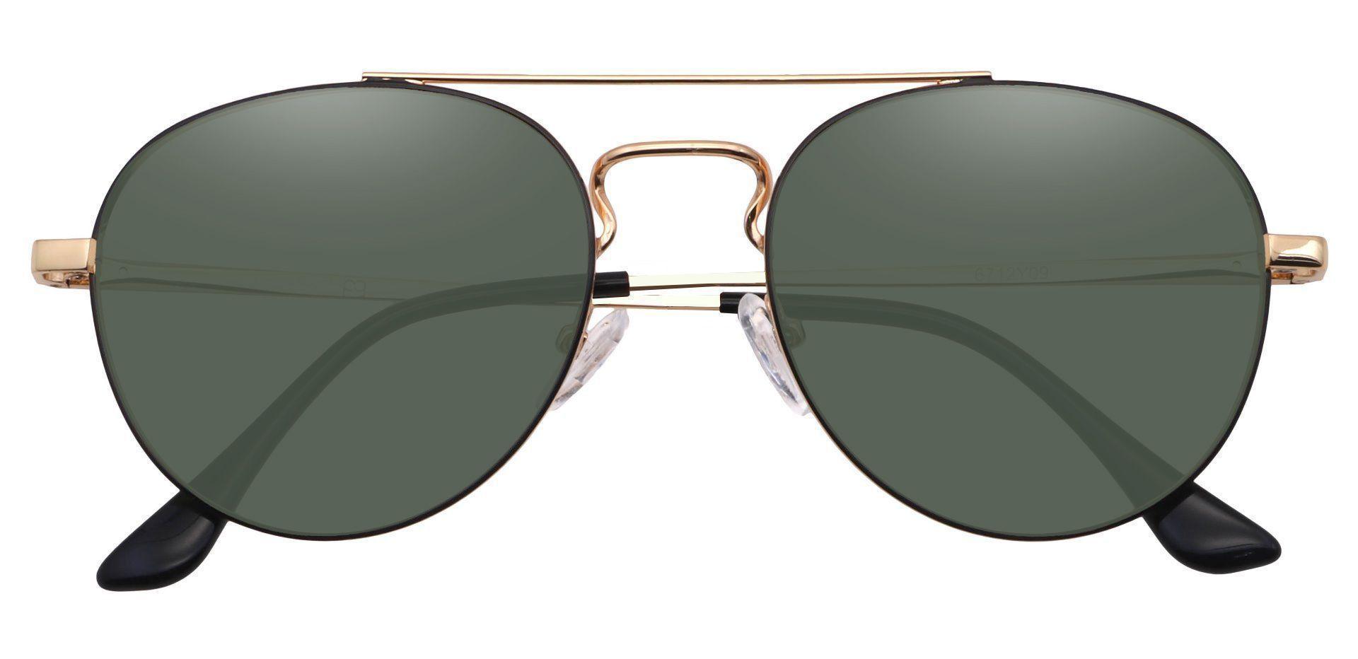 Trapp Aviator Progressive Sunglasses - Gold Frame With Green Lenses