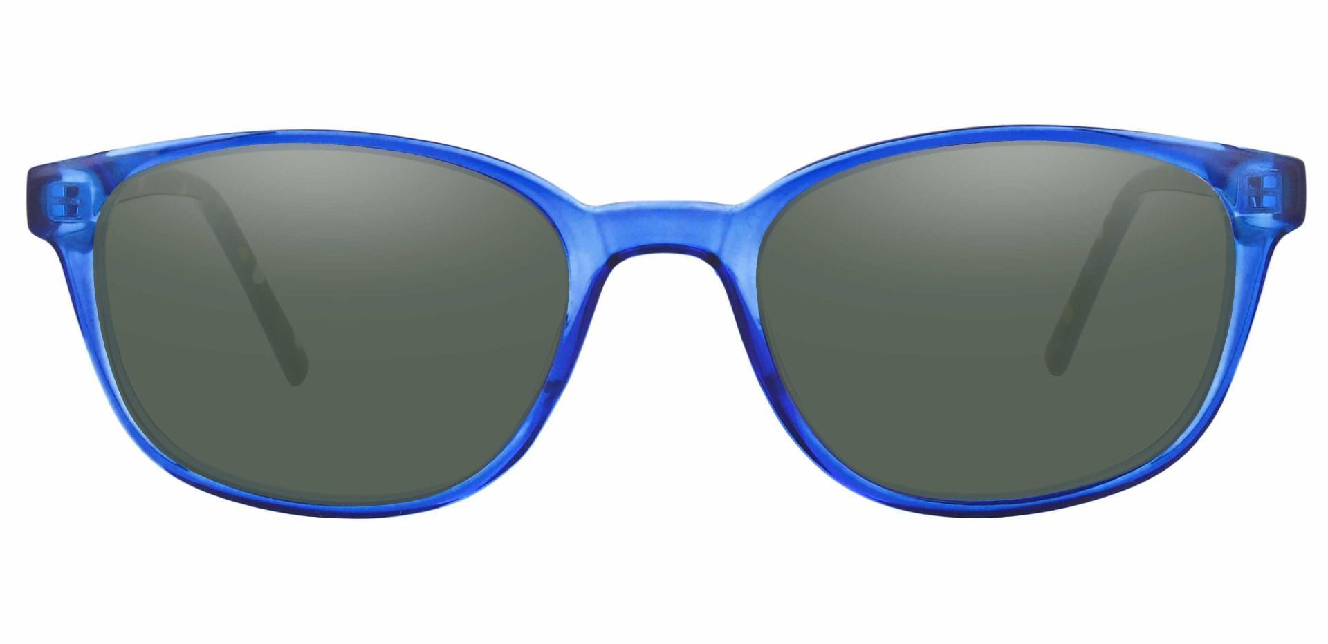 Branson Rectangle Prescription Sunglasses - Blue Frame With Green Lenses