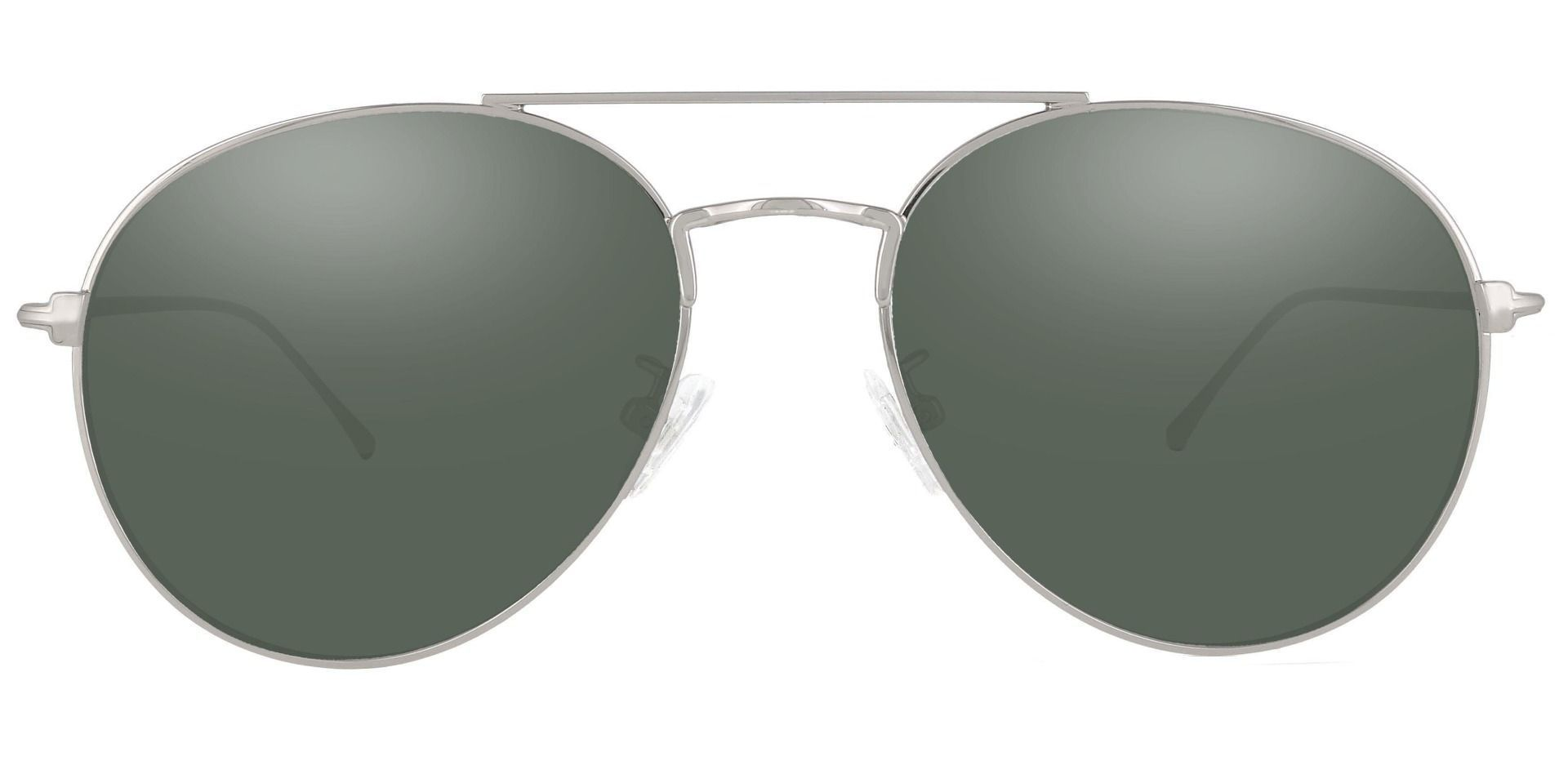 Canon Aviator Single Vision Sunglasses - Silver Frame With Green Lenses