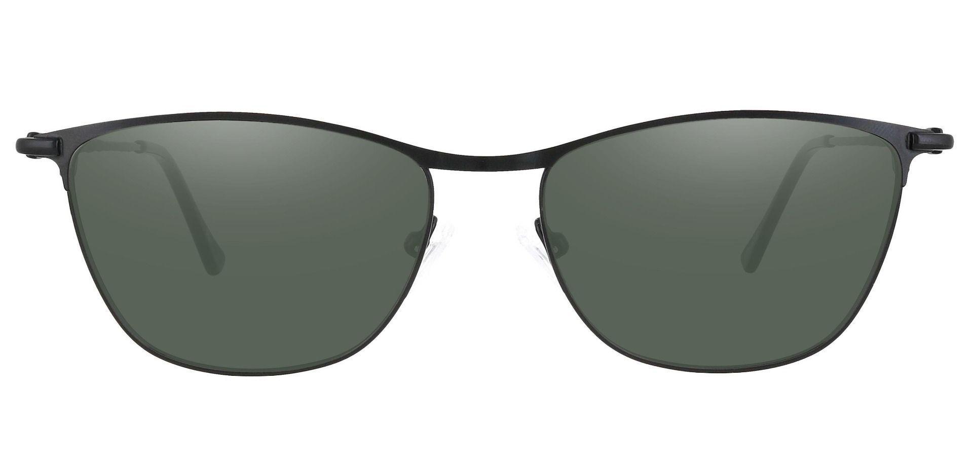 Andrea Cat Eye Progressive Sunglasses - Black Frame With Green Lenses
