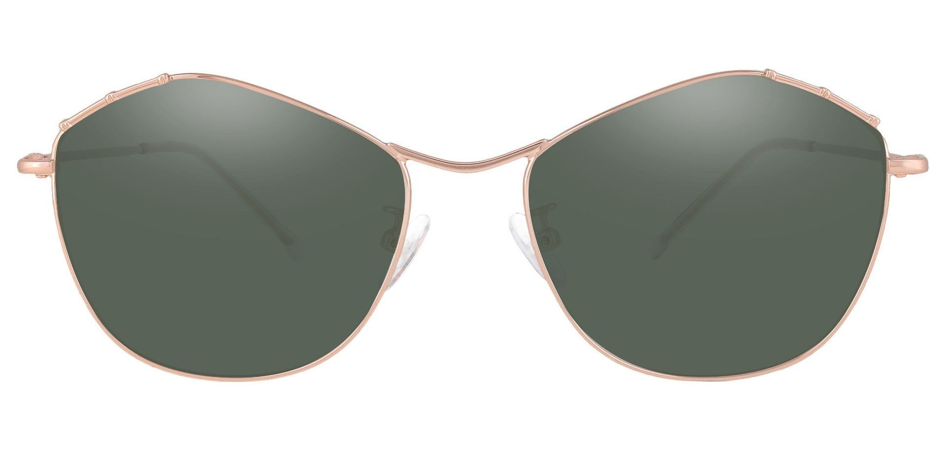 Bamboo Geometric Non-Rx Sunglasses - Rose Gold Frame With Green Lenses