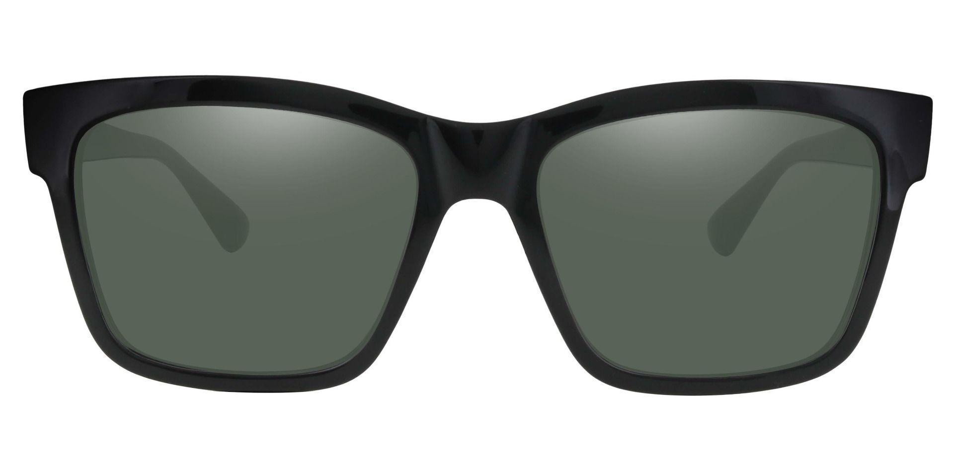 Brinley Square Non-Rx Sunglasses - Black Frame With Green Lenses