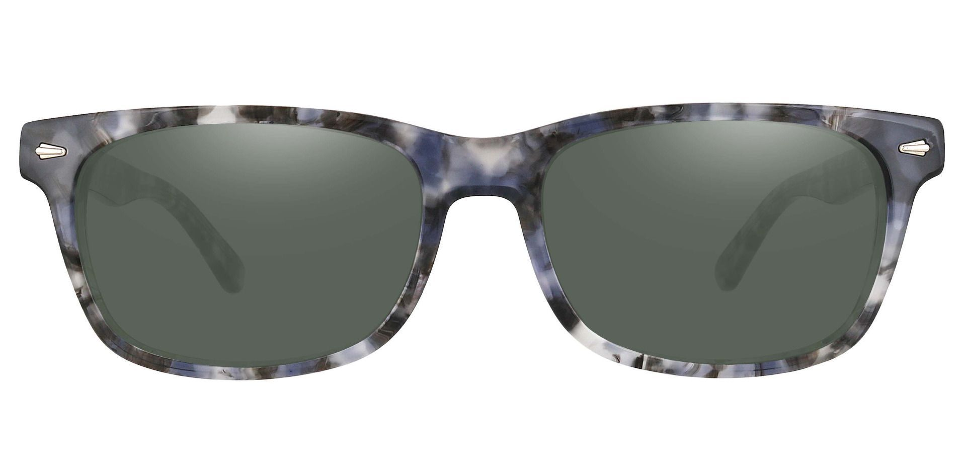 Hendrix Rectangle Lined Bifocal Sunglasses - Floral Frame With Green Lenses