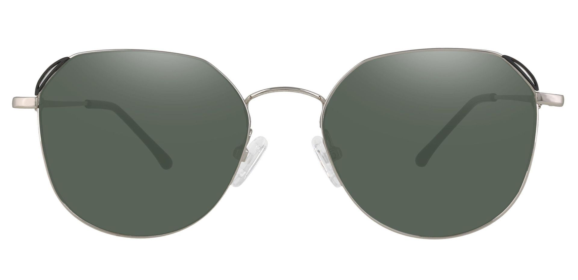 Figaro Geometric Progressive Sunglasses - Silver Frame With Green Lenses