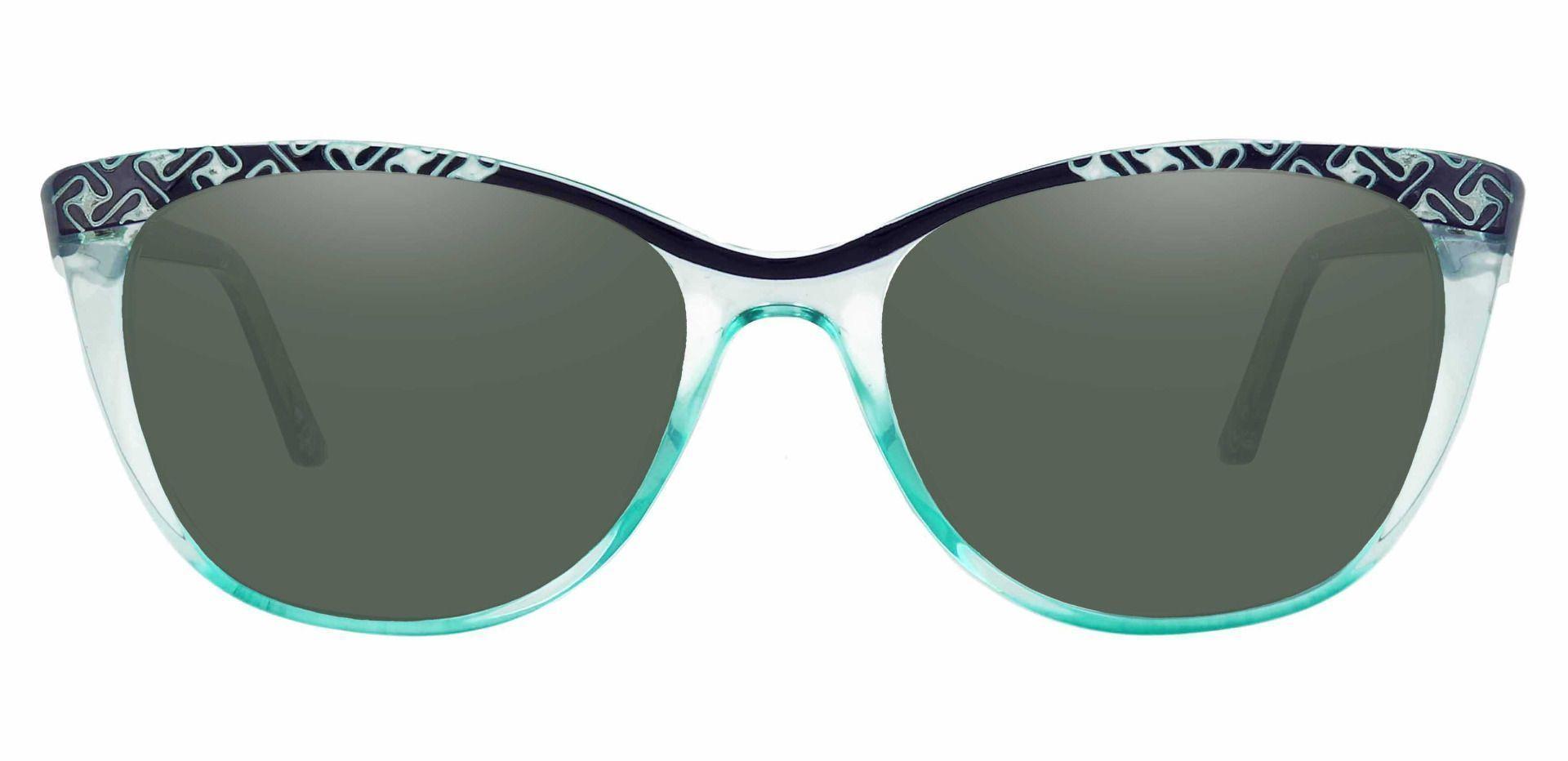 Alberta Cat Eye Prescription Sunglasses - Blue Frame With Green Lenses