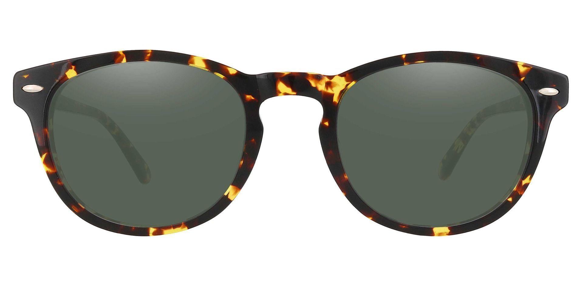 Laguna Oval Reading Sunglasses - Tortoise Frame With Green Lenses