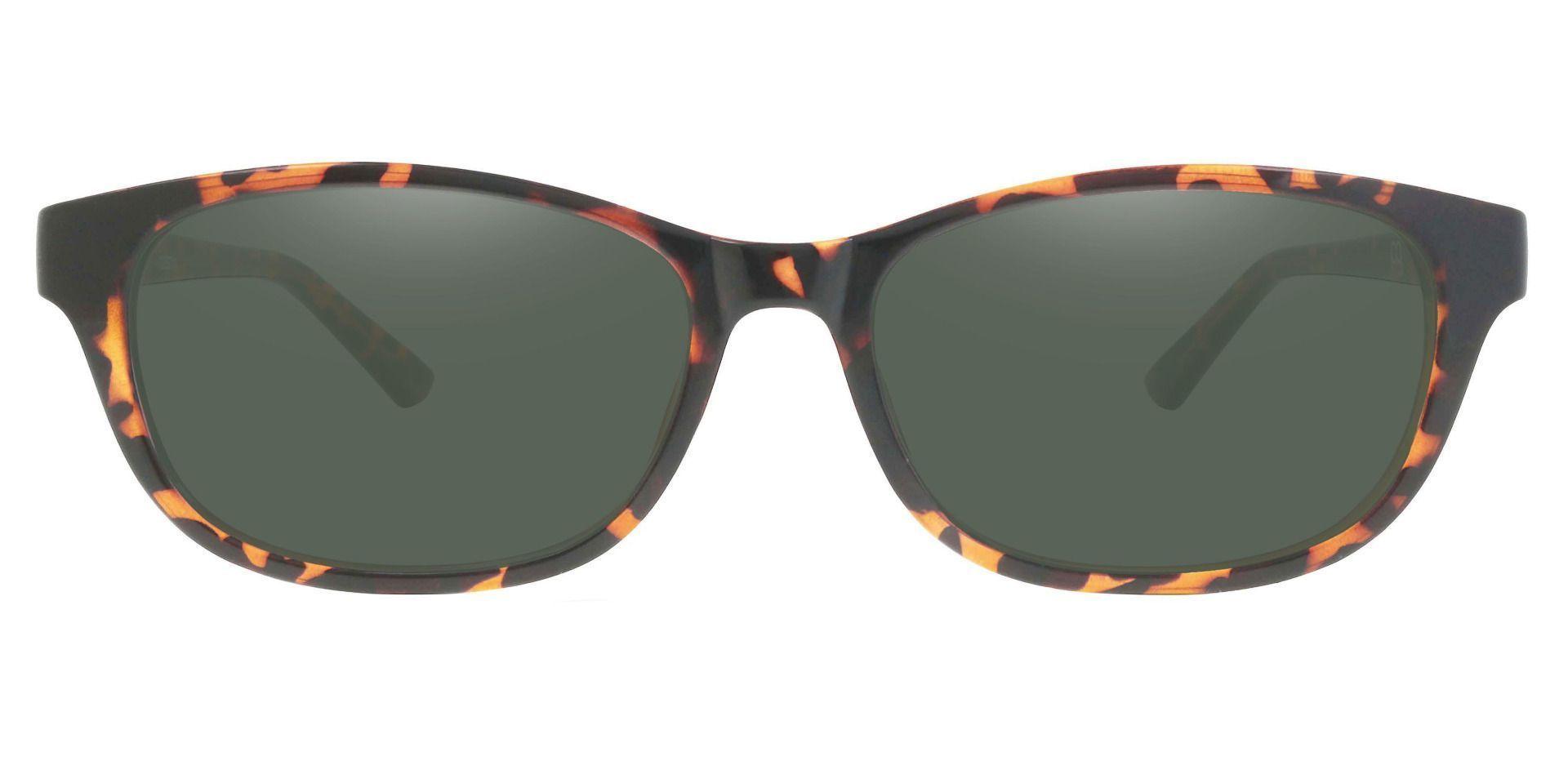 Reyna Classic Square Prescription Sunglasses - Tortoise Frame With Green Lenses