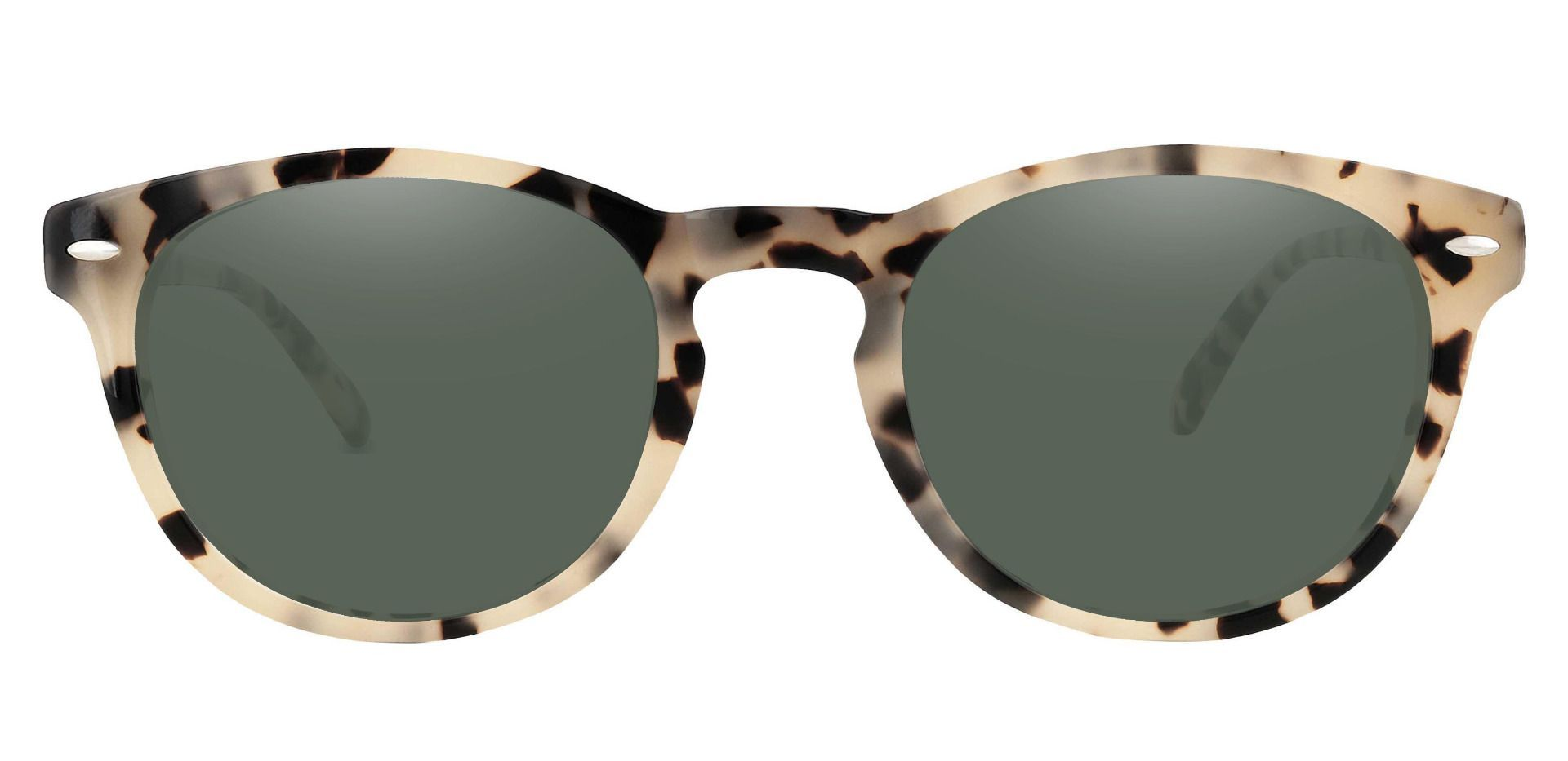 Laguna Oval Lined Bifocal Sunglasses - Leopard Frame With Green Lenses