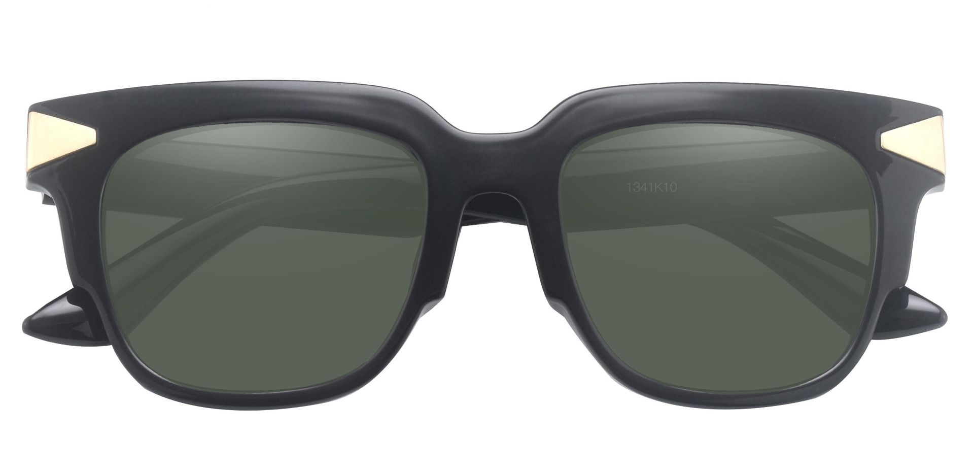 Ardent Square Reading Sunglasses - Black Frame With Green Lenses