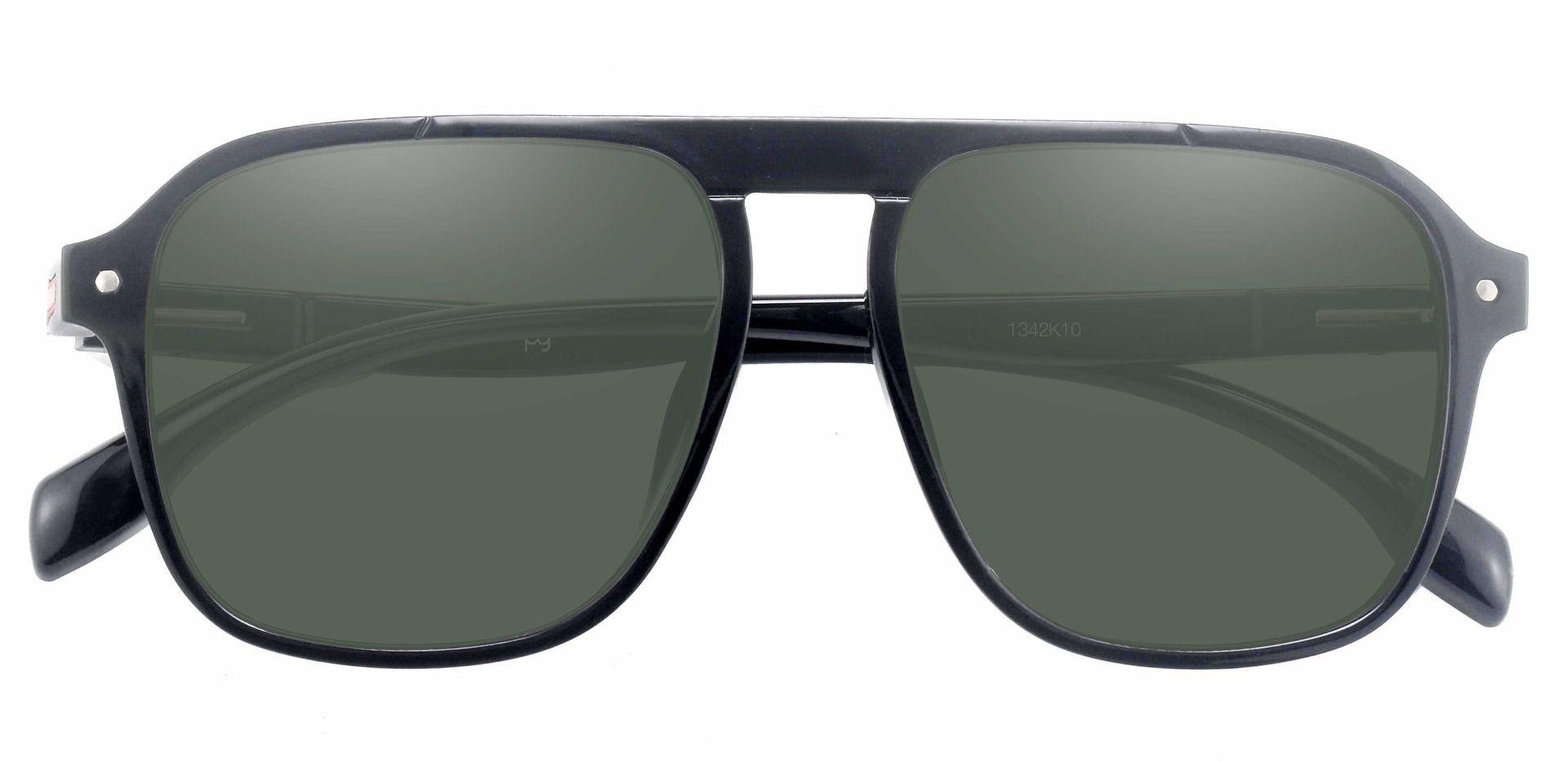 Gideon Aviator Reading Sunglasses - Black Frame With Green Lenses
