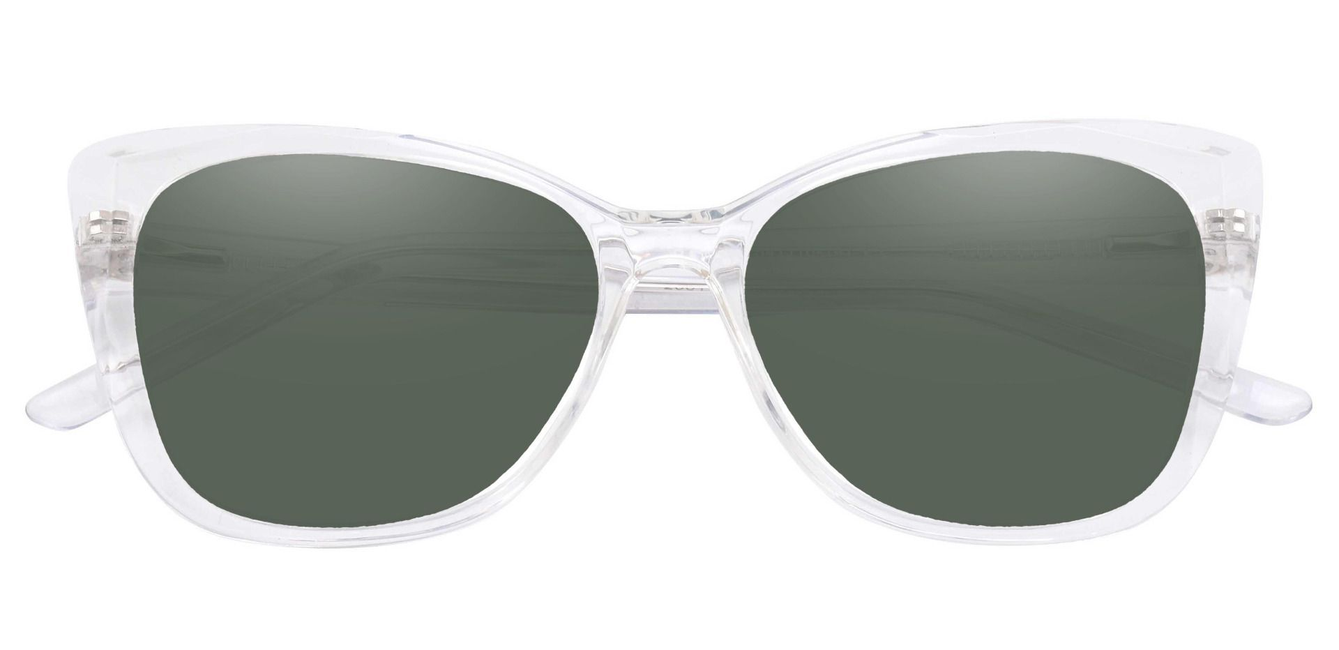 Mabel Square Prescription Sunglasses - Clear Frame With Green Lenses