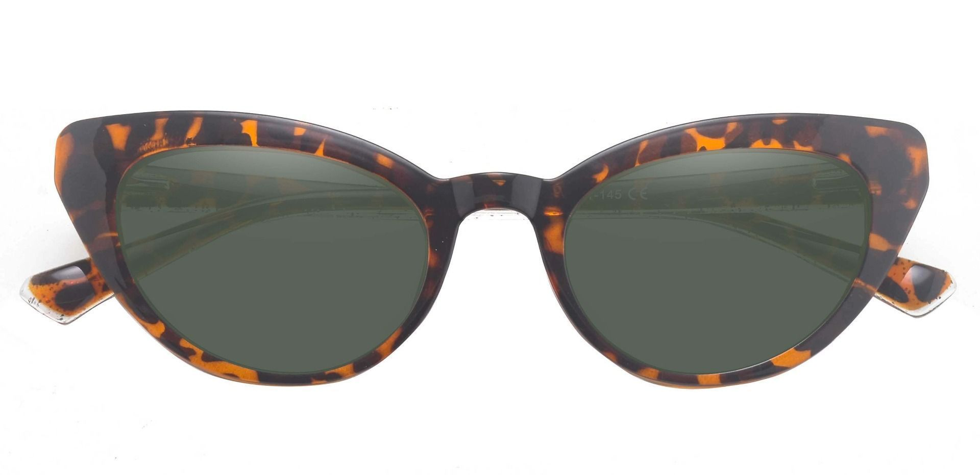 June Cat Eye Prescription Sunglasses - Leopard Frame With Green Lenses