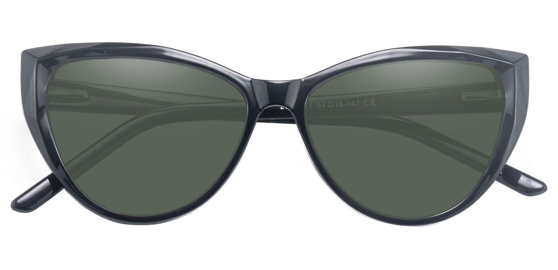 Ireland Cat Eye Lined Bifocal Sunglasses - Black Frame With Green Lenses