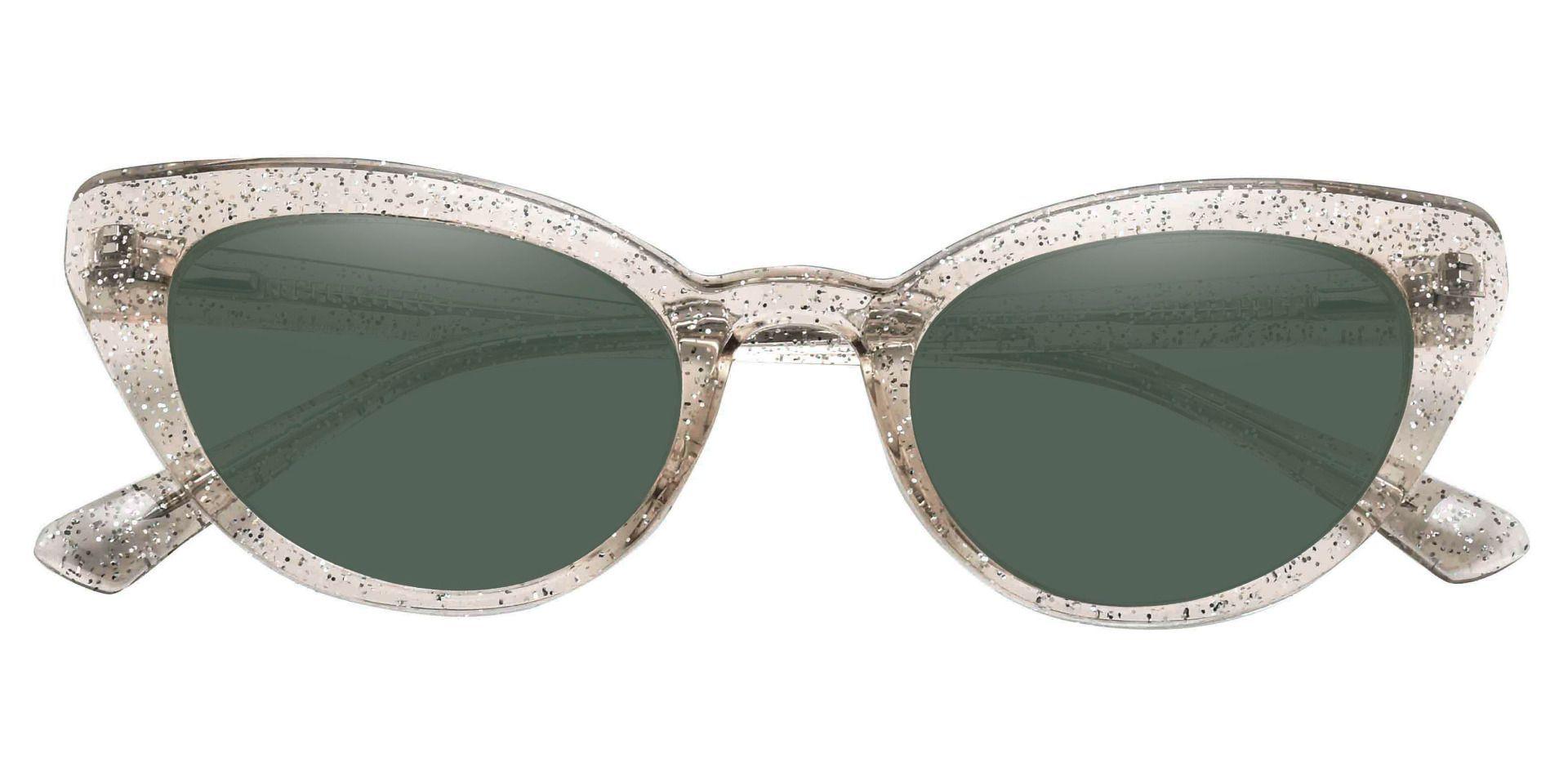 June Cat Eye Prescription Sunglasses - Brown Frame With Green Lenses