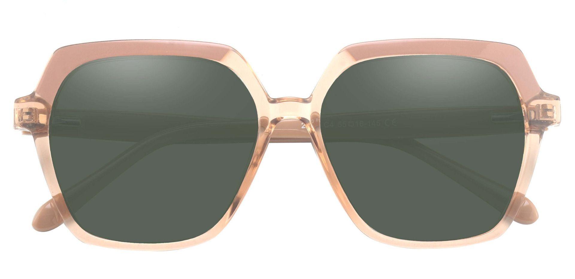 Regent Geometric Progressive Sunglasses - Brown Frame With Green Lenses
